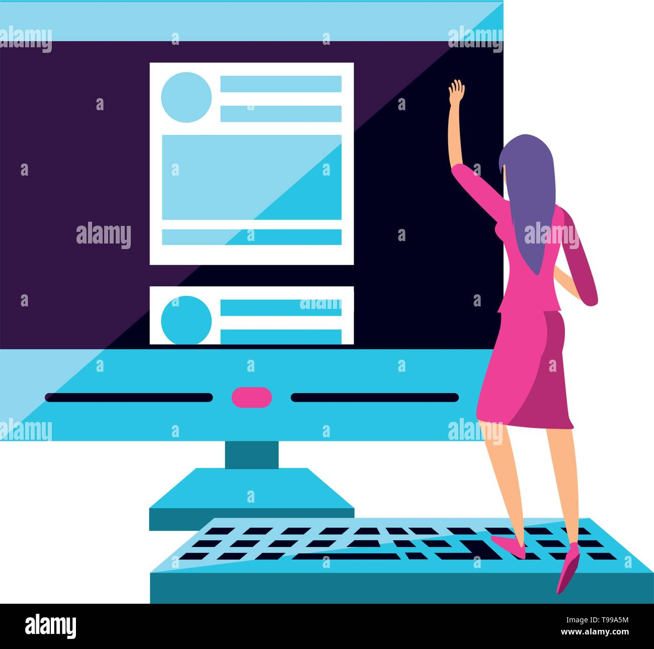 young woman with desktop computer vector illustration design - Stock Image