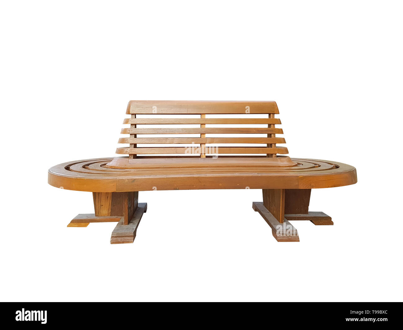 wooden bench isolated on white background with clipping path. wooden bench waiting chair for the train at the railway station platform, front view - Stock Image