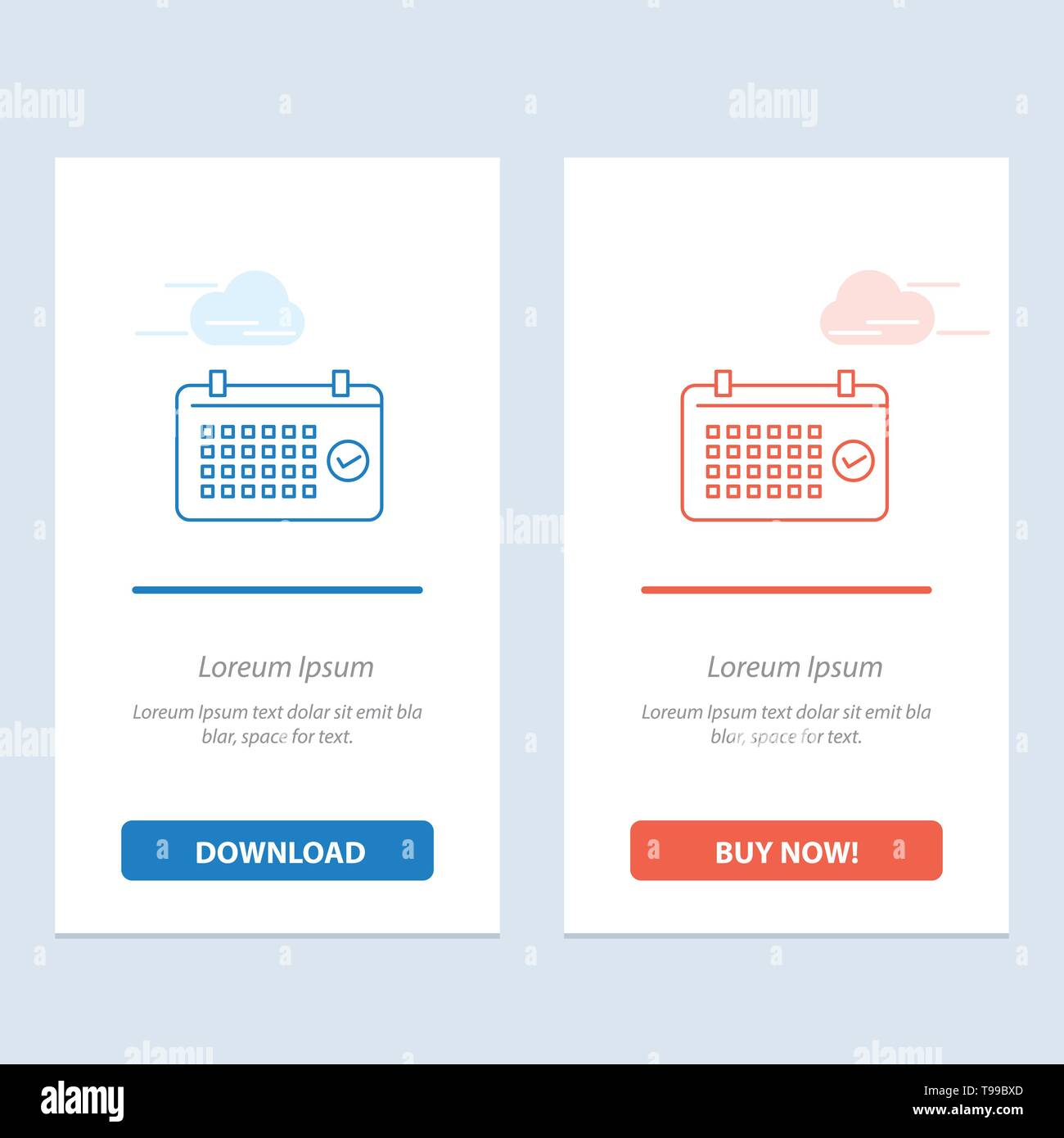Calendar, Date, Month, Year, Time Blue and Red Download and Buy Now