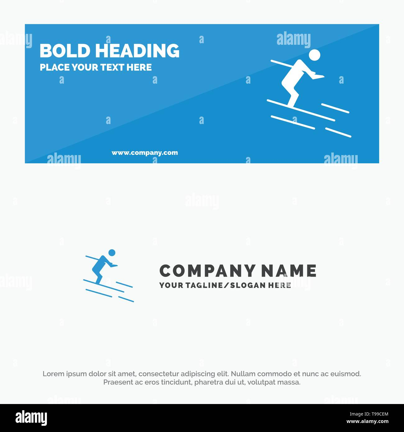 Activity, Ski, Skiing, Sportsman SOlid Icon Website Banner and Business Logo Template Stock Vector