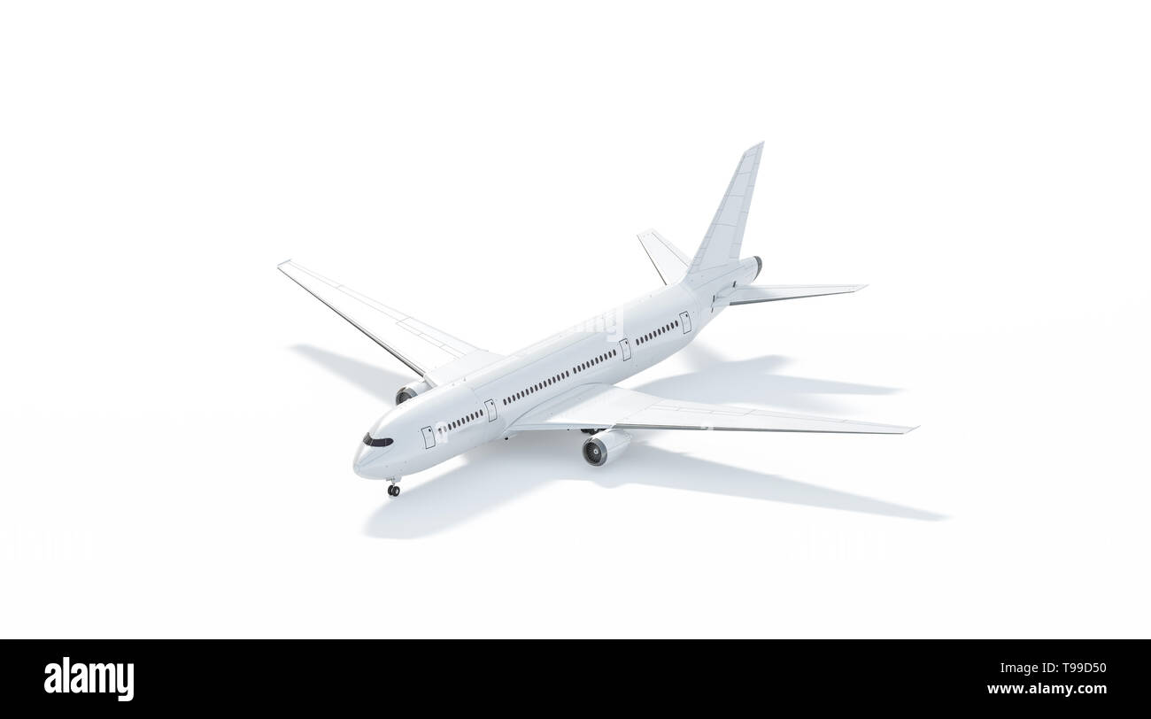 Blank white airplane mockup stand, side view isolated, 3d rendering. Clear plain air transport projected mock up template. Empty avia aerobus model fo - Stock Image