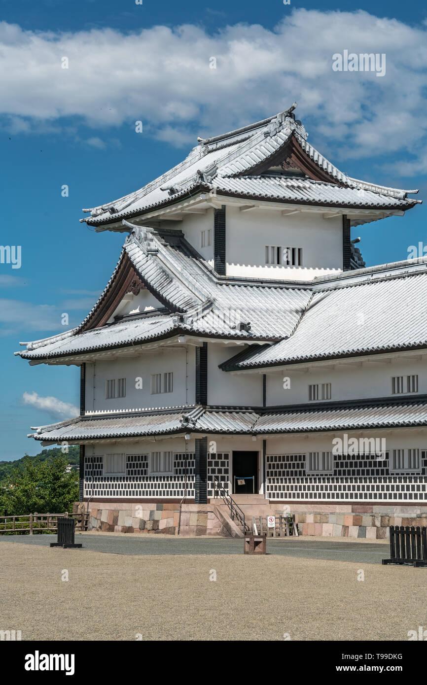 Kanazawa, Ishikawa, Japan - August 21, 2018 : Kanazawa Castle. Hishi Yagura watchtower at Gojikken Nagaya warehouse, two-level multi-sided turret. Blu - Stock Image