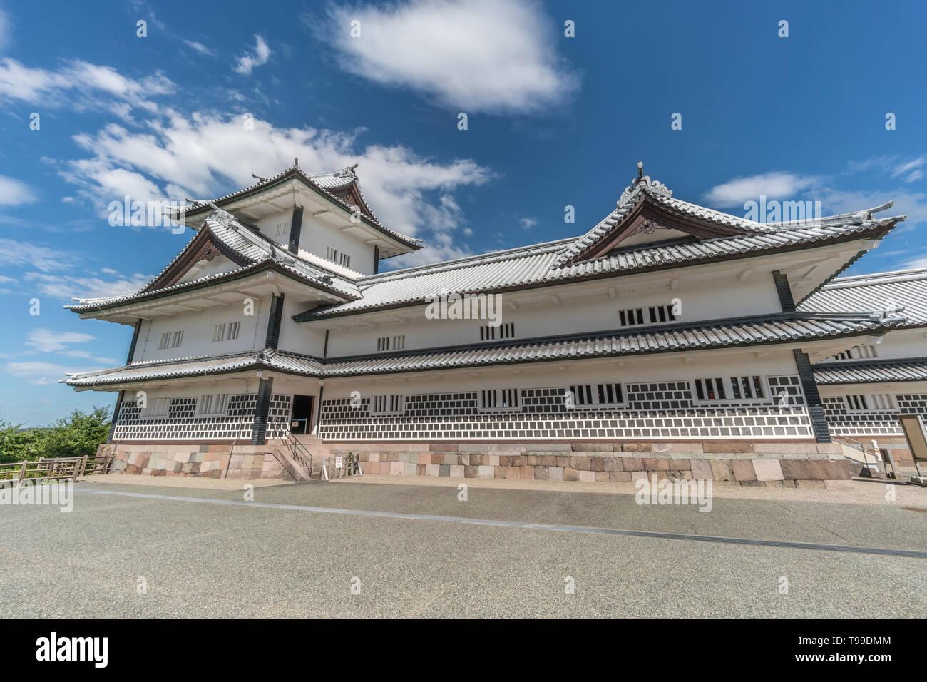 Kanazawa, Ishikawa, Japan - August 21, 2018 : Kanazawa Castle. Hishi Yagura watchtower at Gojikken Nagaya warehouse two-level, multi-sided turret. Blu - Stock Image