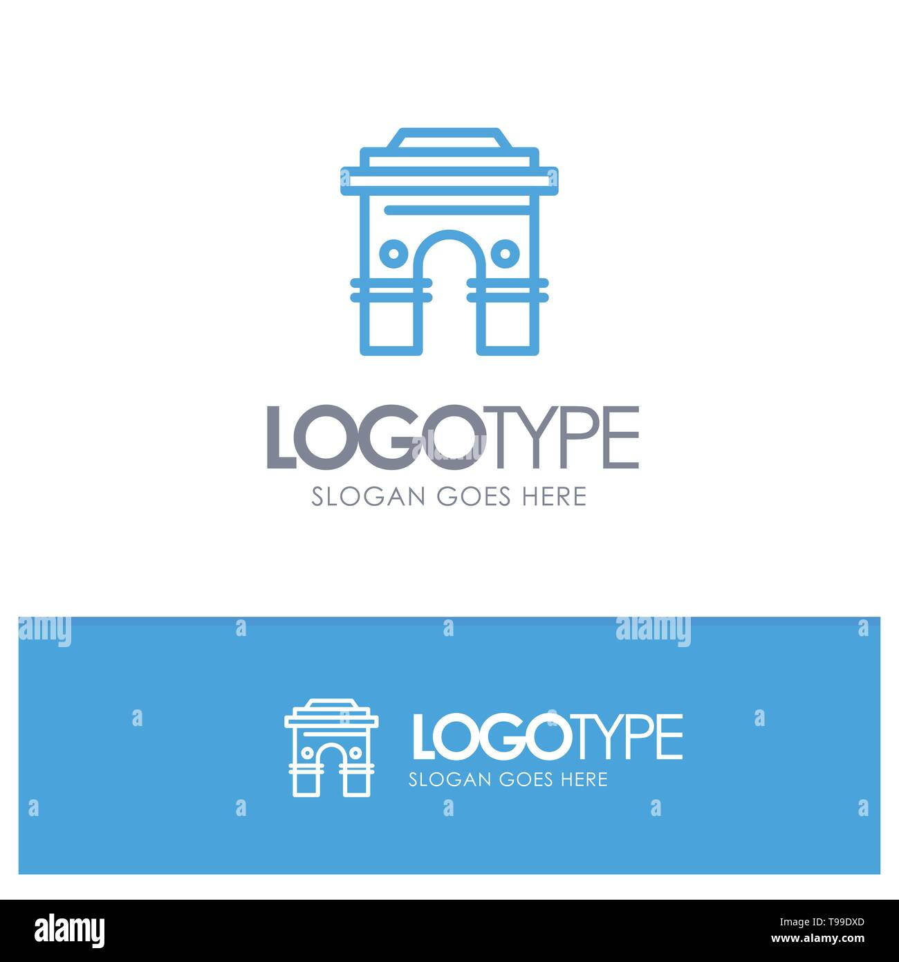 Culture, Global, Hinduism, India, Indian, Srilanka, Temple Blue Outline Logo Place for Tagline - Stock Image