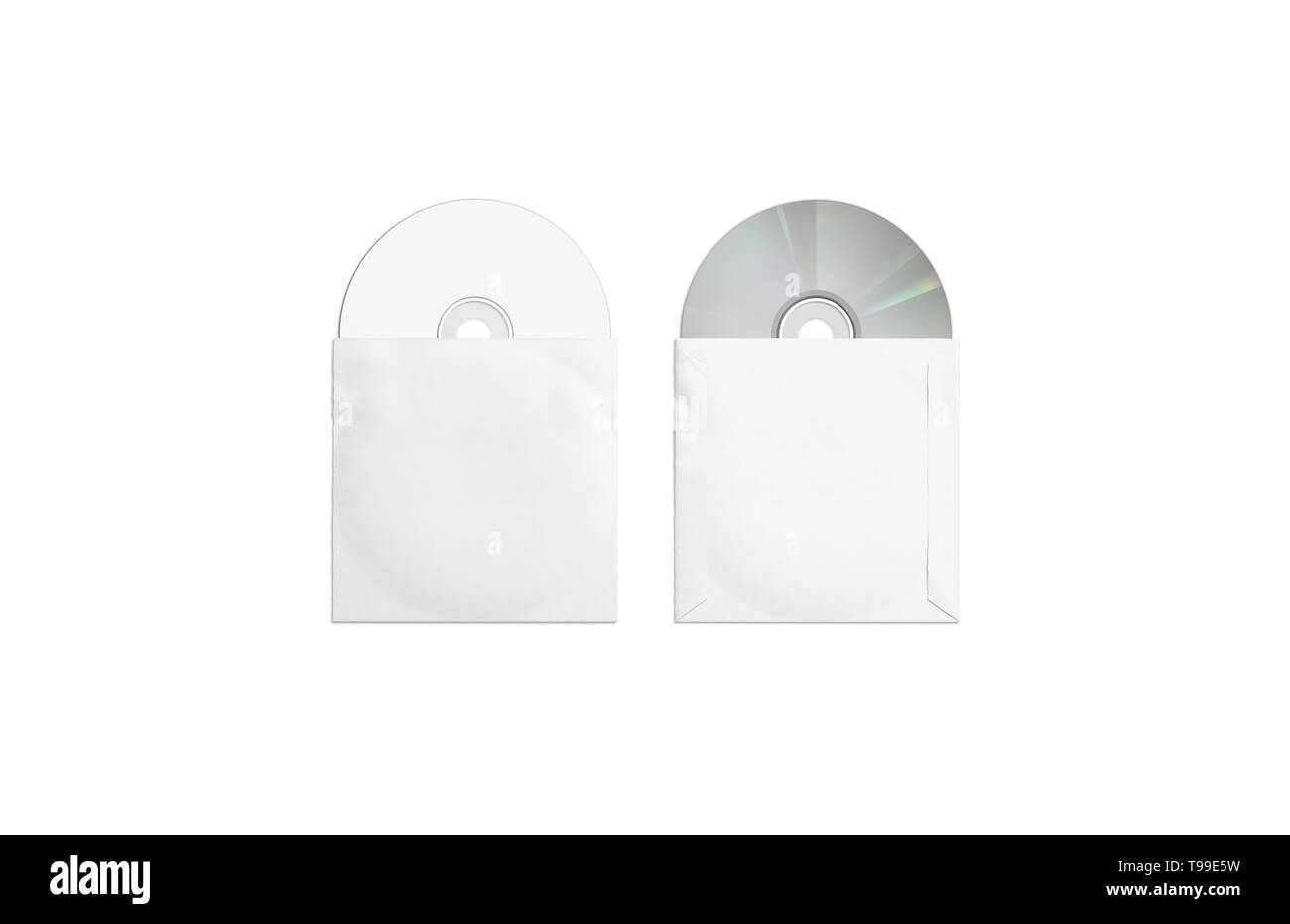 Blank white compact disks packaging mockup, top and back side, isolated, 3d rendering. Empty discs pack in box mock up, top view. Clear digital softwa - Stock Image