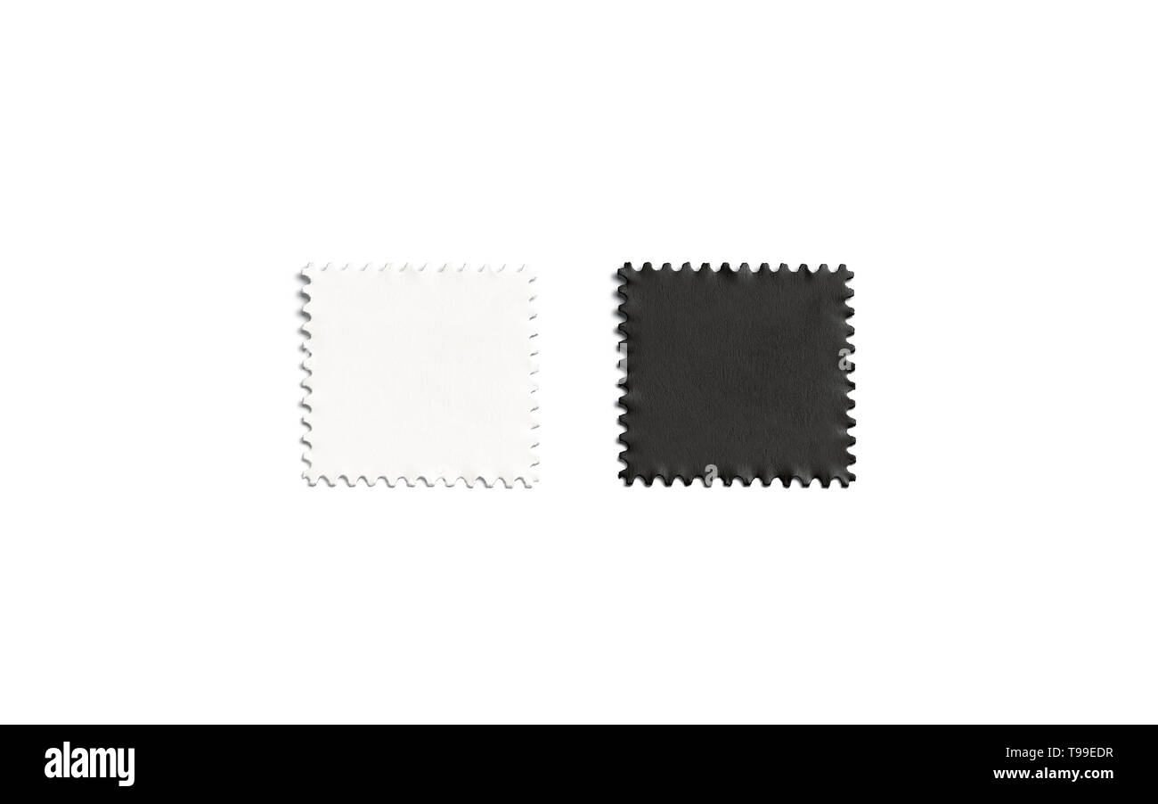 Blank black and white square postage-stamp sticker mockup