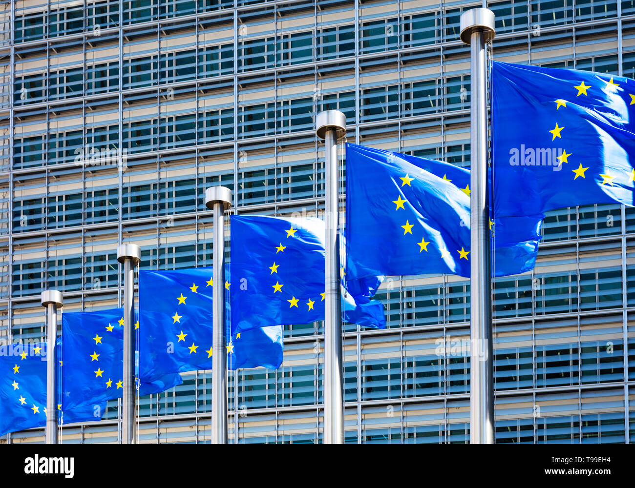 EU flags of Europe outside the EU commission building european commission building Berlaymont building, Brussels, Belgium, EU, Europe - Stock Image