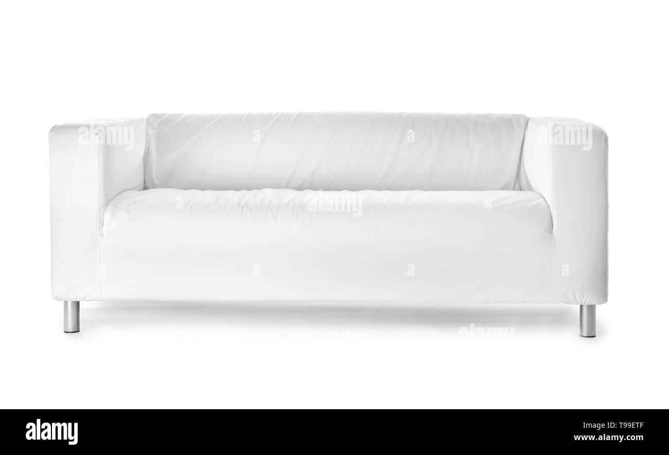 Comfortable sofa on white background - Stock Image