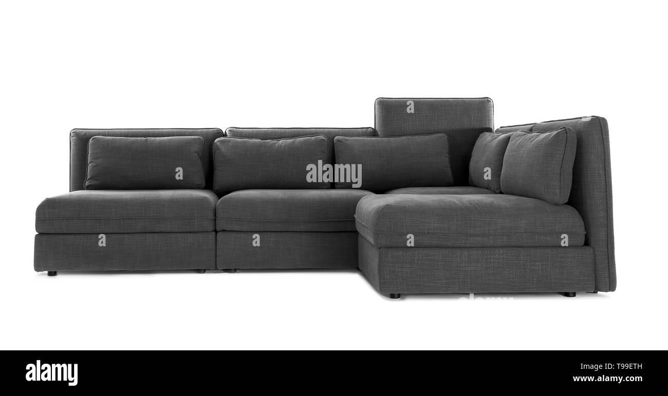 Comfortable corner sofa on white background - Stock Image
