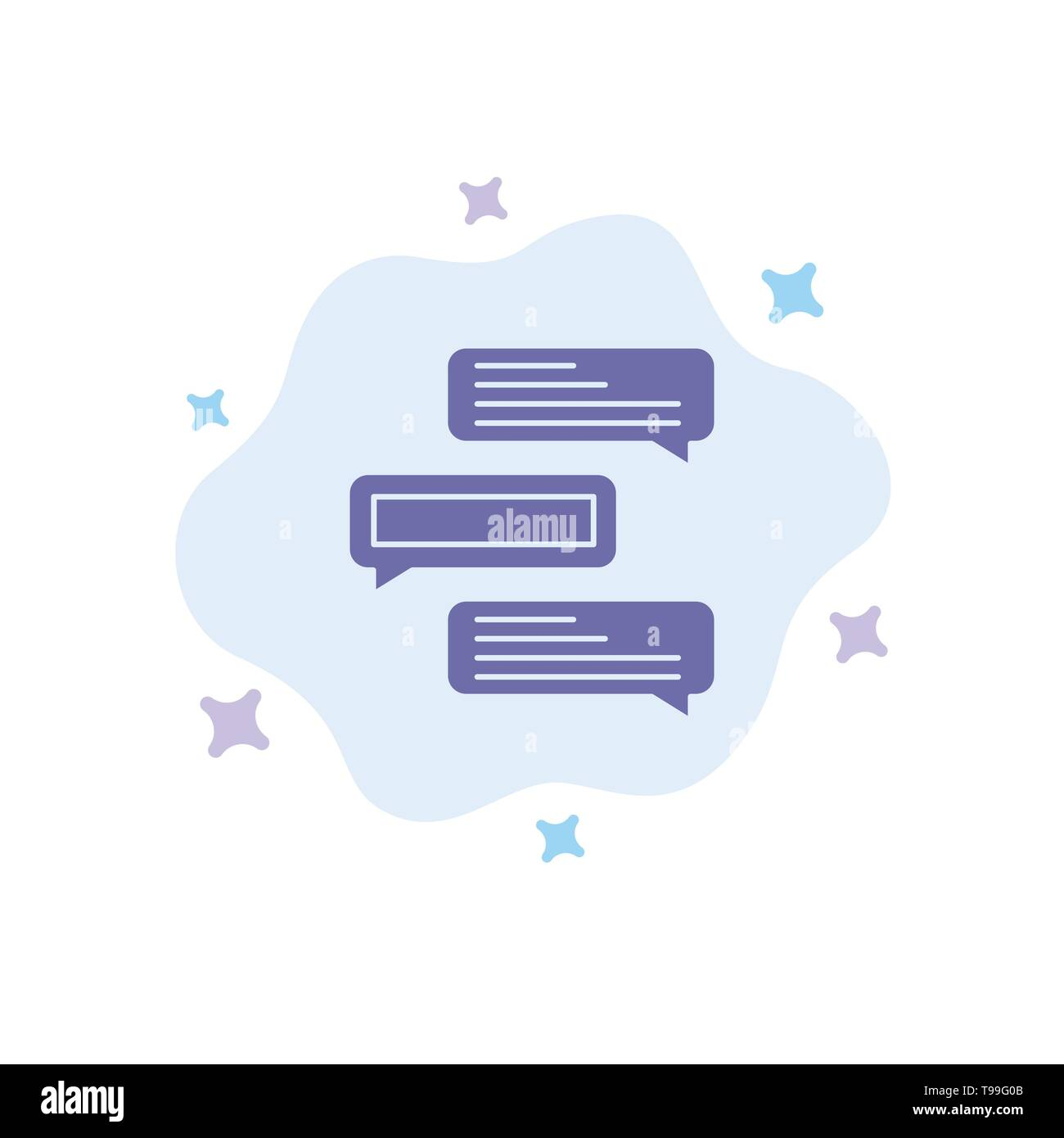 Chat, Bubbles, Comments, Conversations, Talks Blue Icon on Abstract Cloud Background - Stock Vector