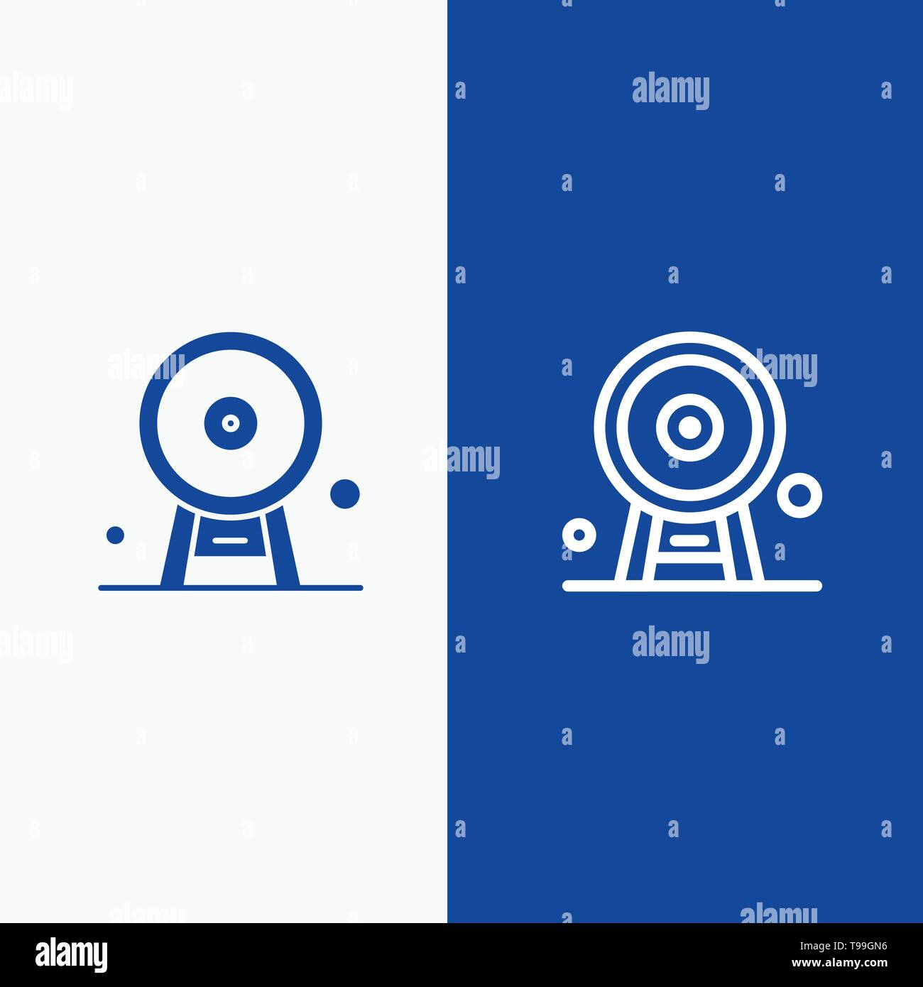 Architecture, England, Ferris Wheel, Landmark, London Eye, Line and Glyph Solid icon Blue banner Line and Glyph Solid icon Blue banner - Stock Image