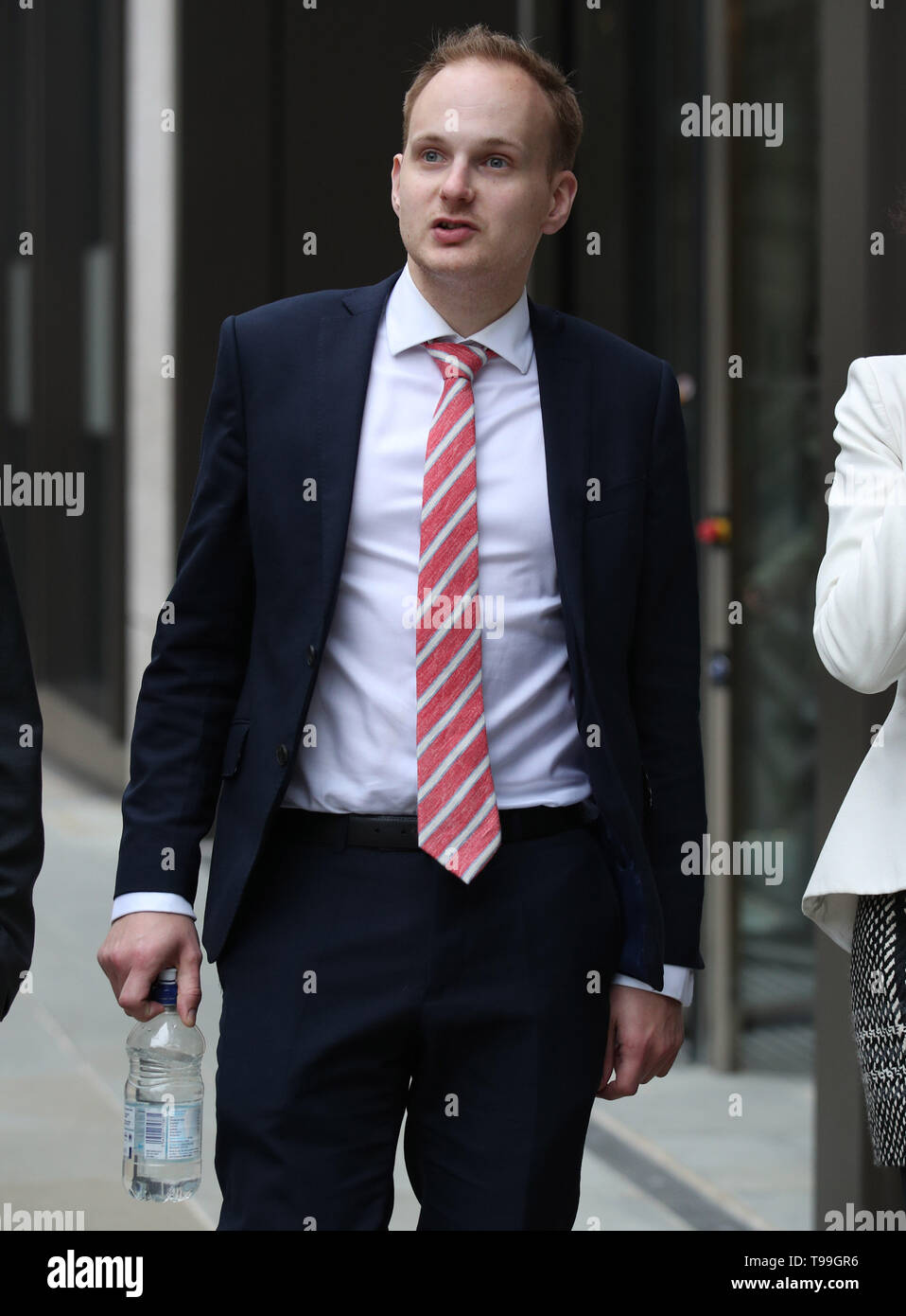 James Hodder, partner of Australian nurse Kirsty Boden, 28, who was killed in the attack, leaving the Old Bailey in London, during the inquest into the London Bridge and Borough Market terror attacks. - Stock Image