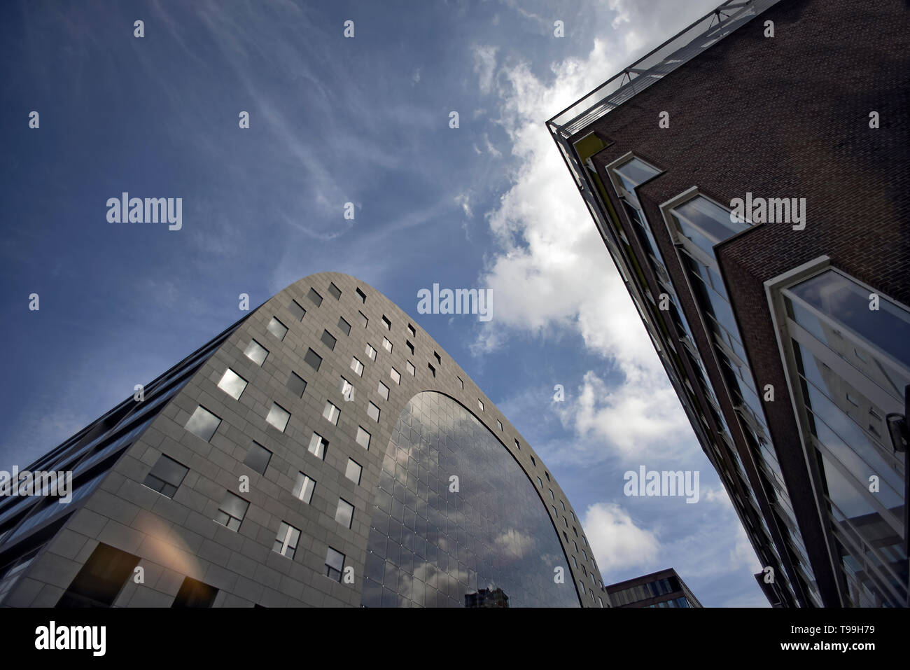 Markthal building in the city centre of Rotterdam in sunshine - Stock Image