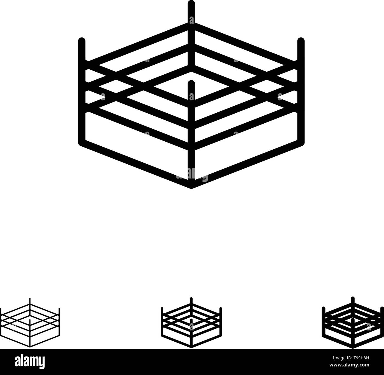 Boxing, Ring, Wrestling Bold and thin black line icon set Stock Vector