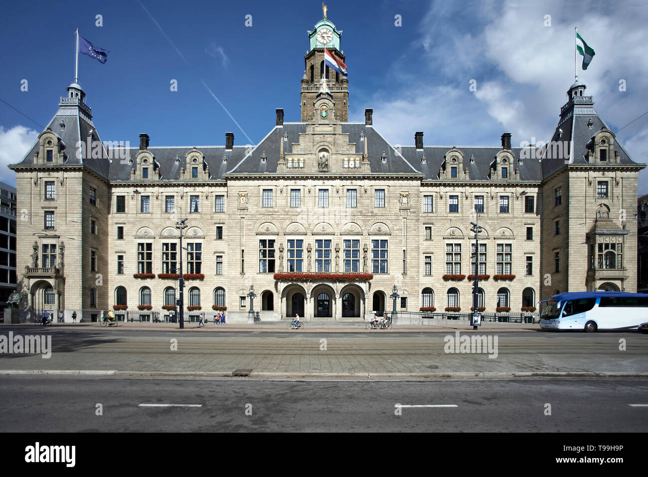 City hall of the city of Rotterdam in summer sunshine - Stock Image