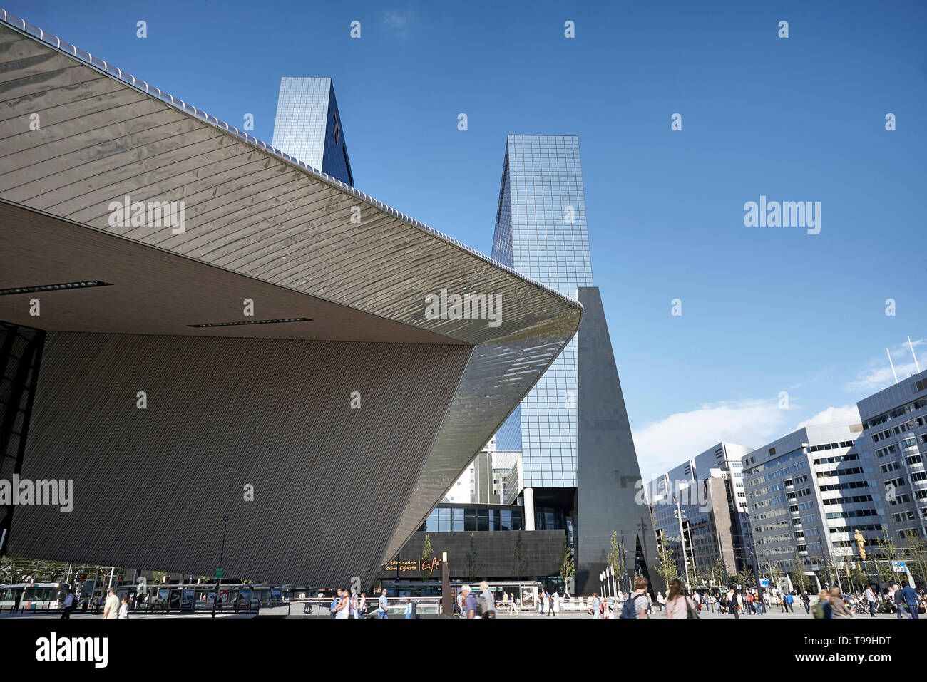 Amazing image of the new central train station in the city centre of Rotterdam - Stock Image