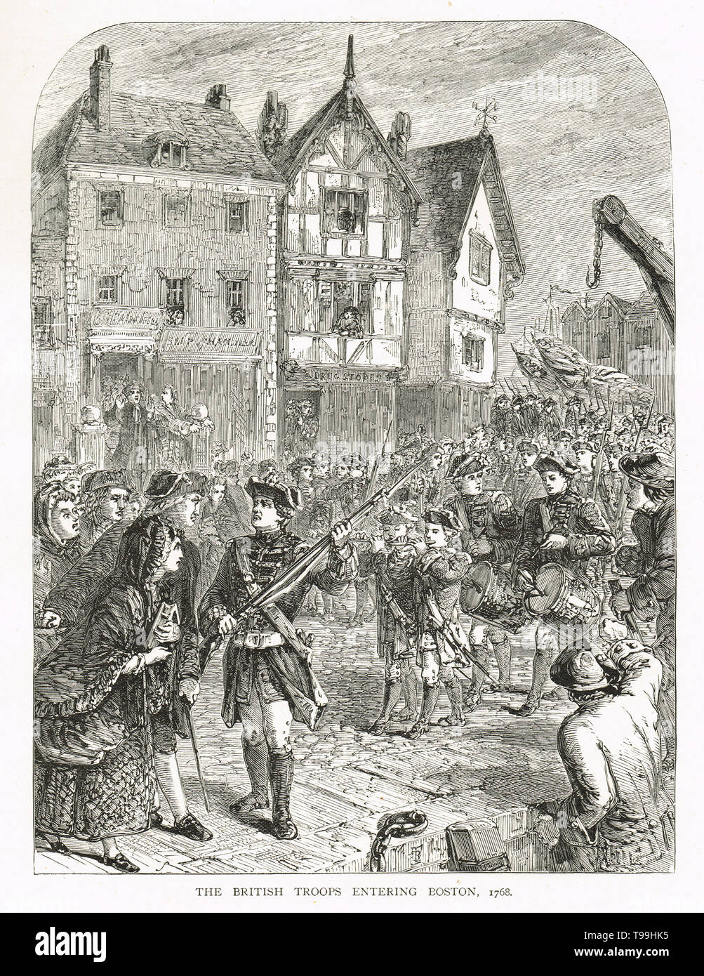 British soldiers entering Boston in 1768 - Stock Image