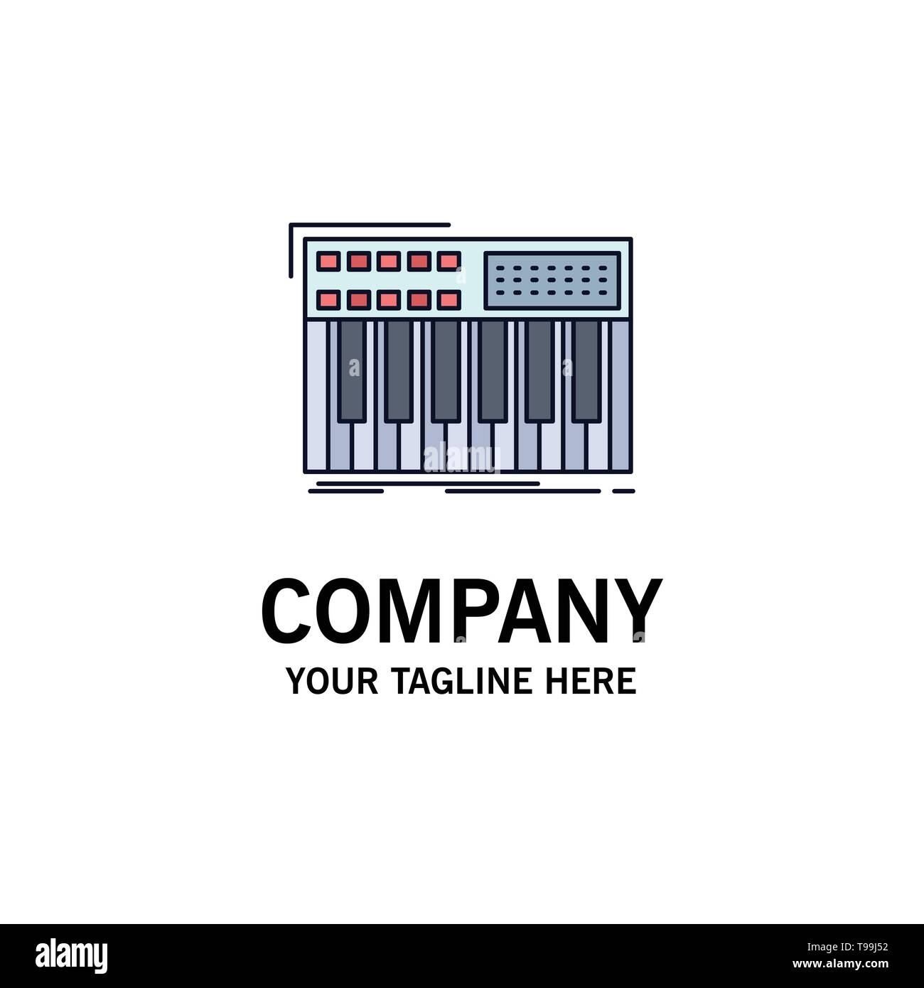 synth, keyboard, midi, synthesiser, synthesizer Flat Color Icon Vector - Stock Image