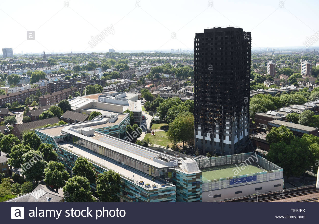 File photo dated 17/06/17 of Grenfell Tower in west London. The Grenfell Tower Inquiry's first report will not be published until October, months after survivors expected its release. - Stock Image