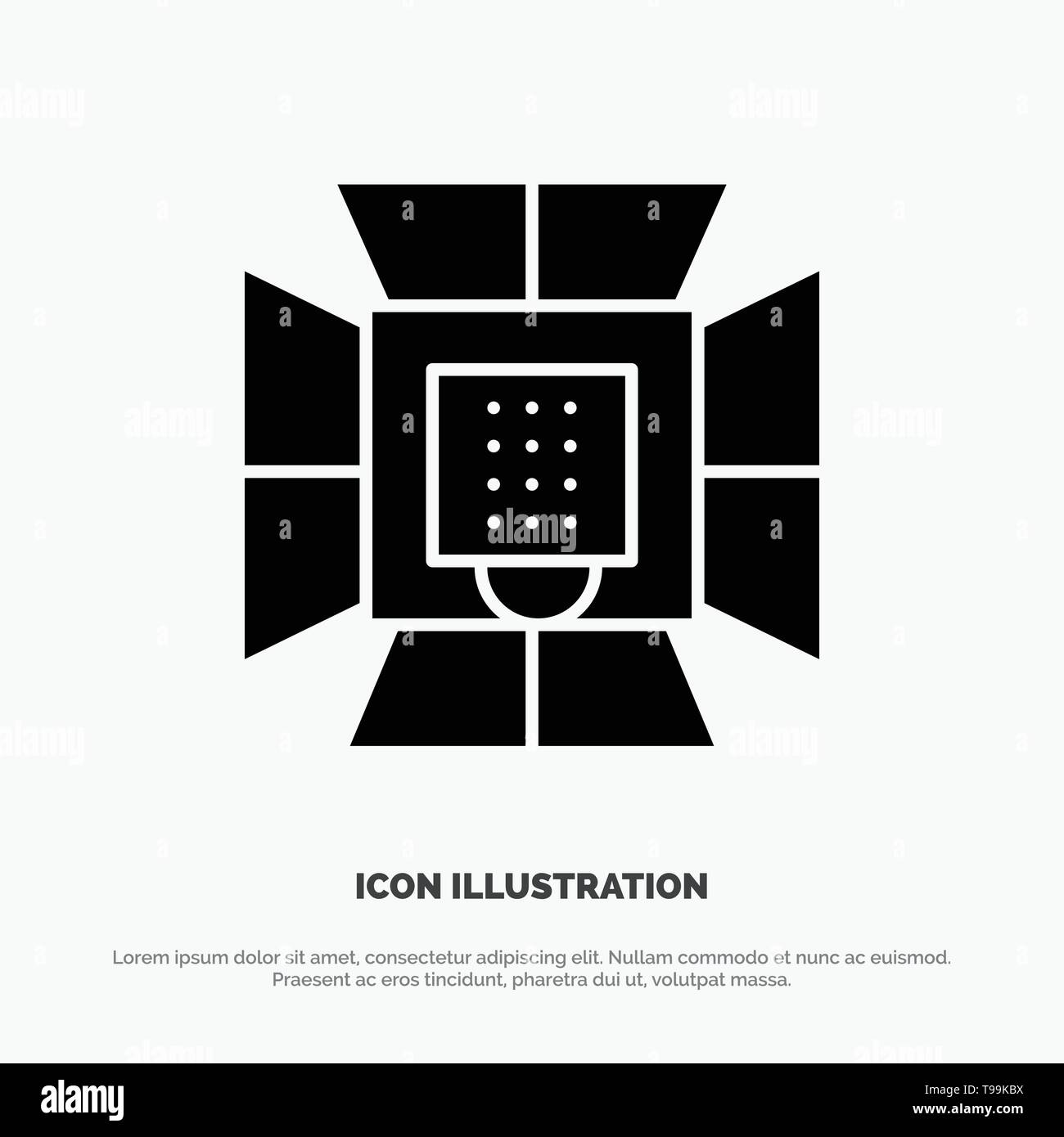Illumination, Light, Lighting, Professional, Soft box solid Glyph Icon vector - Stock Image