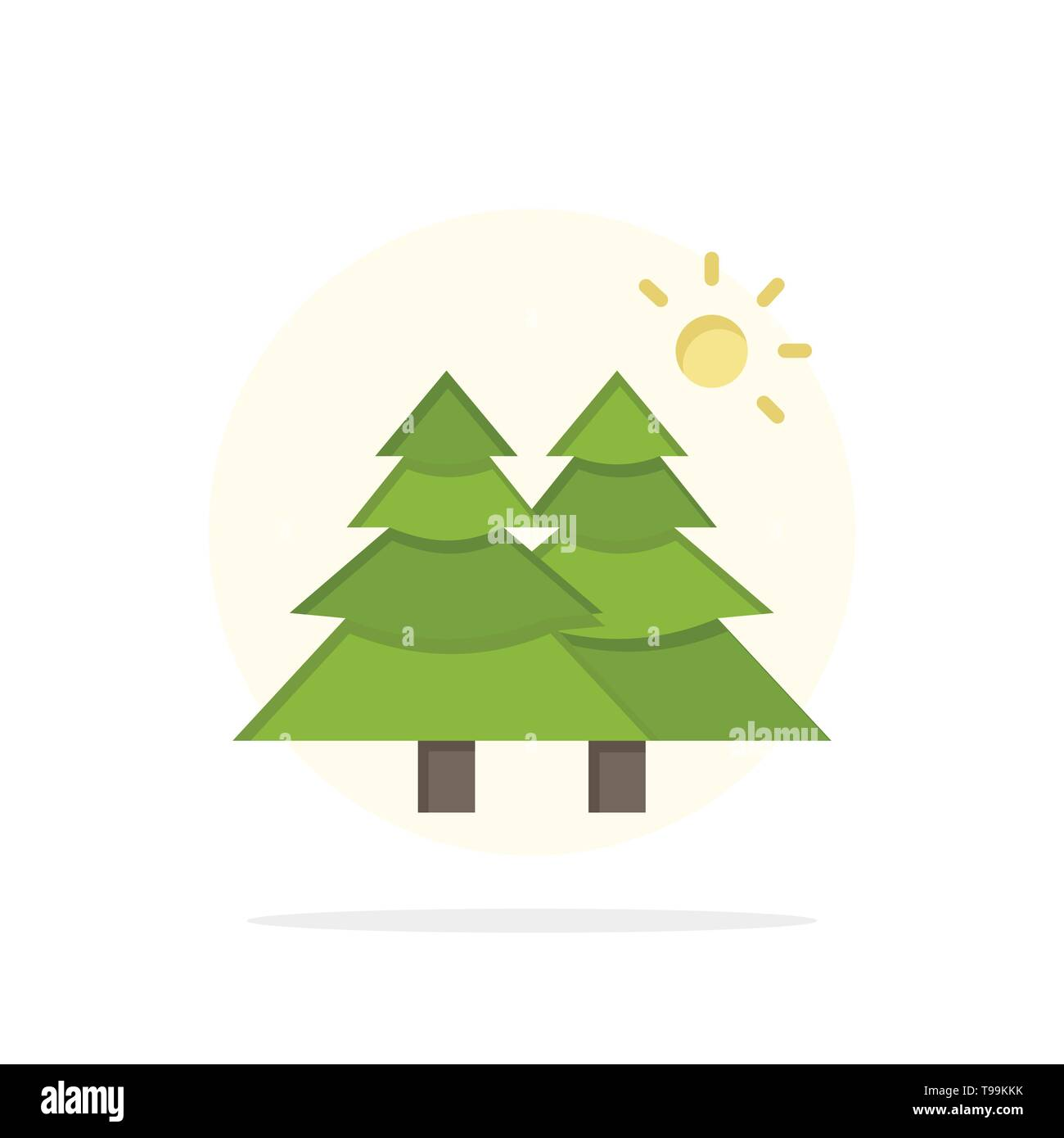 Fir, Forest, Nature, Trees Abstract Circle Background Flat color Icon - Stock Image