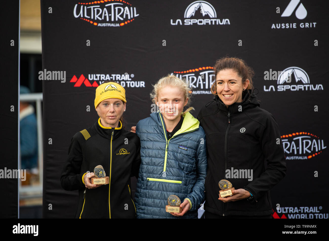 Blue Mountains, Australia - April 16 2019: Ultra-Trail Australia UTA11 race. All place holders in the women's event on the podium - Stock Image