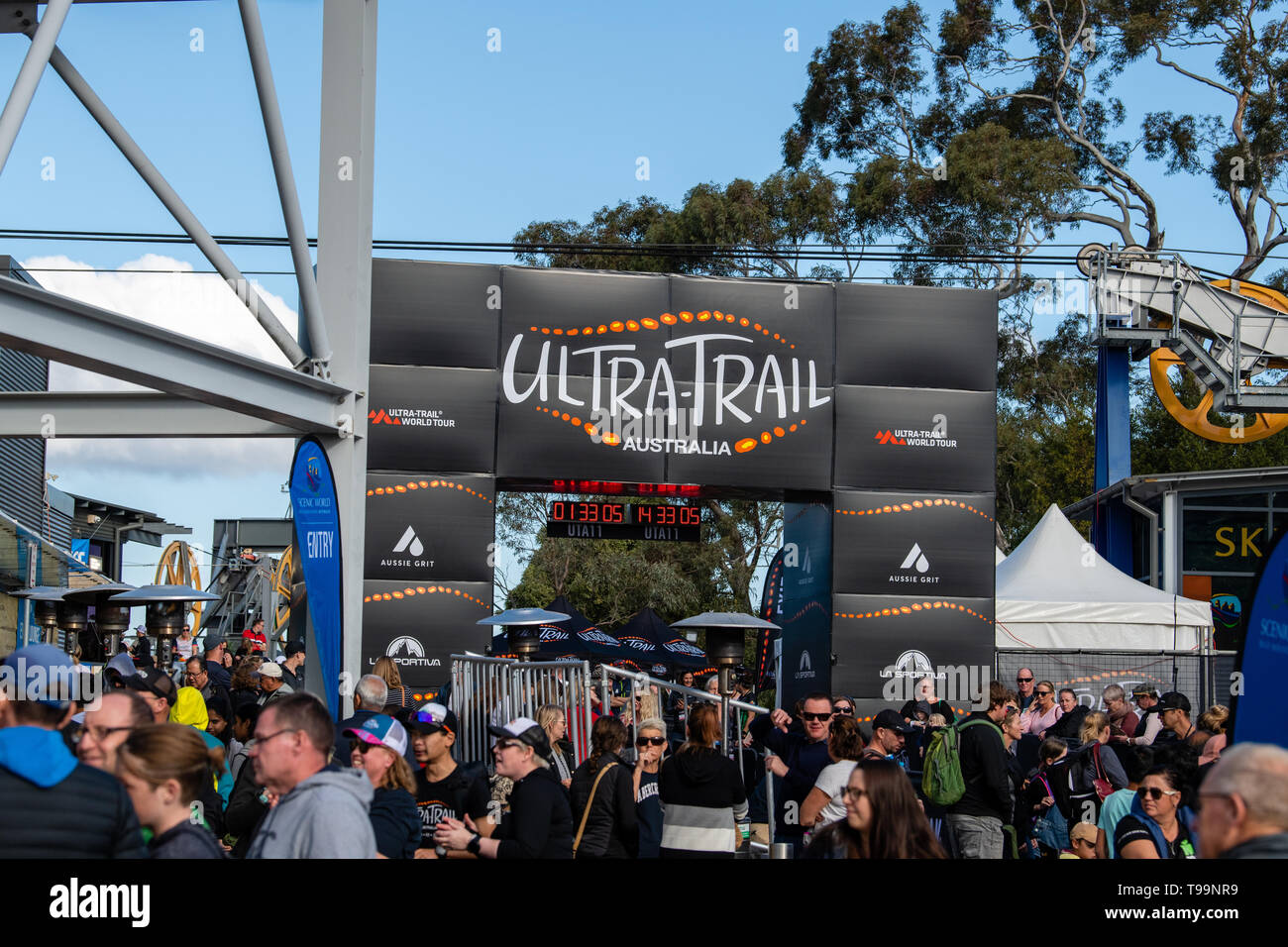 Blue Mountains, Australia - April 16 2019: Ultra-Trail Australia UTA11 race. Crowds at finish line. - Stock Image