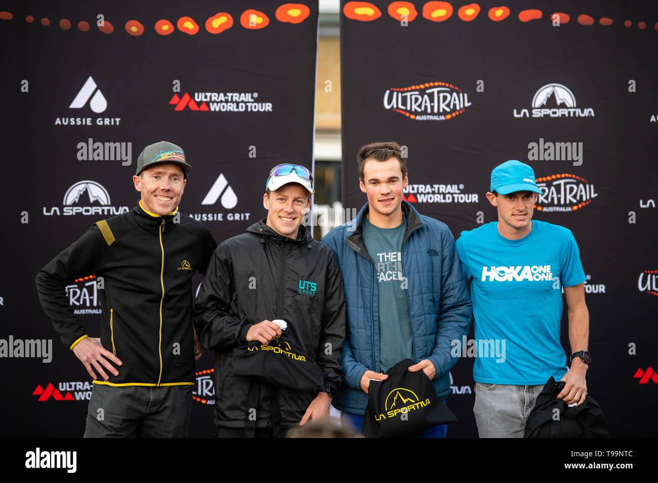Blue Mountains, Australia - April 16 2019: Ultra-Trail Australia UTA11 race. Under 30's men race place holders on the podium - Stock Image