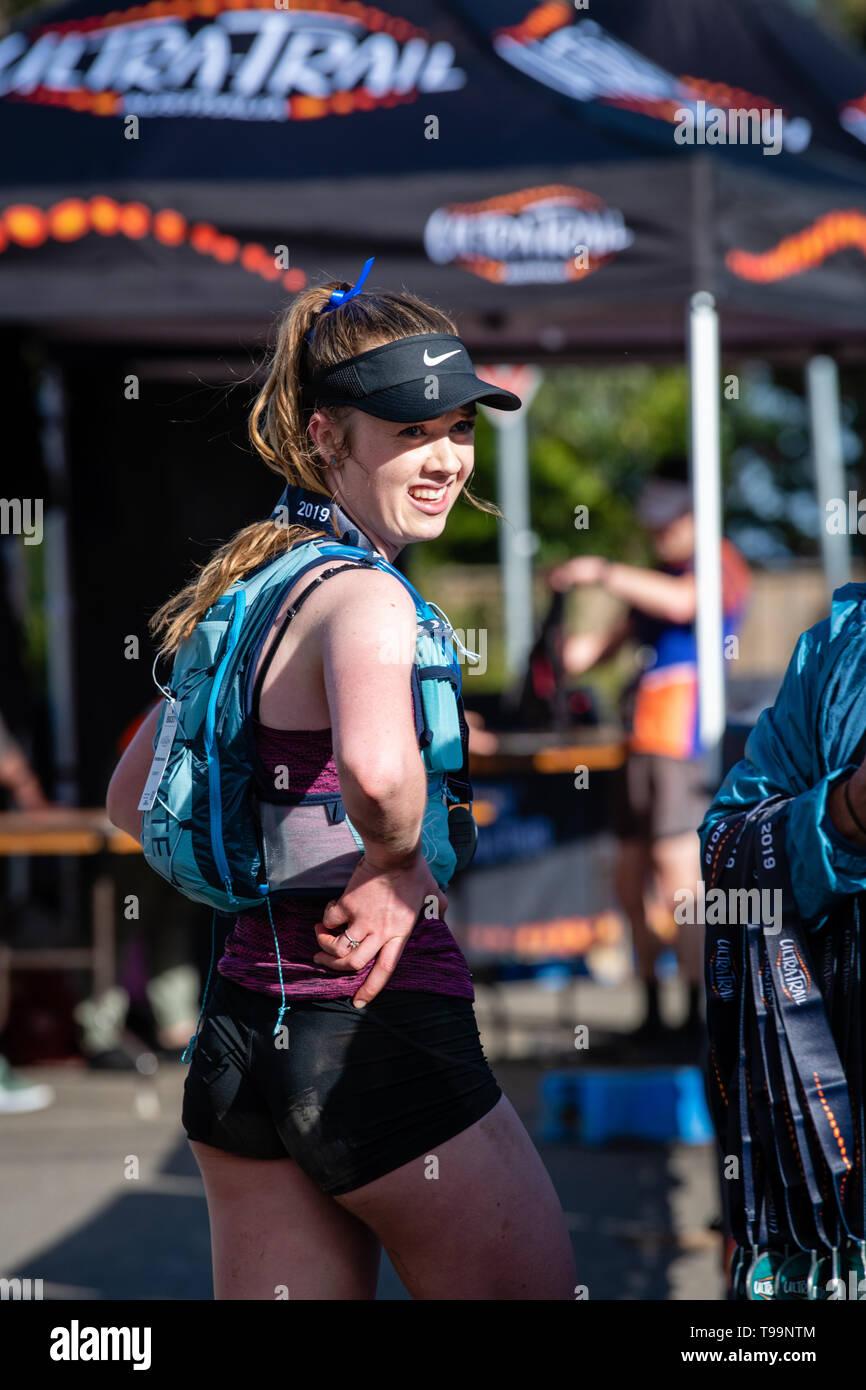 Blue Mountains, Australia - April 16 2019: Ultra-Trail Australia UTA11 race. Runner at the finish line. - Stock Image
