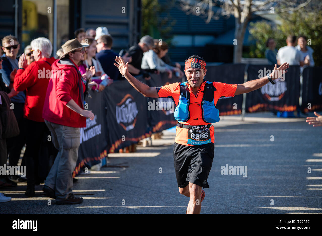Blue Mountains, Australia - April 16 2019: Ultra-Trail Australia UTA11 race. Runner about to finish on home stretch raises hands in victory - Stock Image
