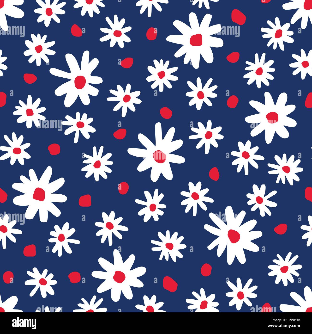 Bold graphic abstract daisies floral vector seamless pattern. Simplistic hand drawn colourful blooms on navy blue background. Retro minimal stylized f - Stock Image