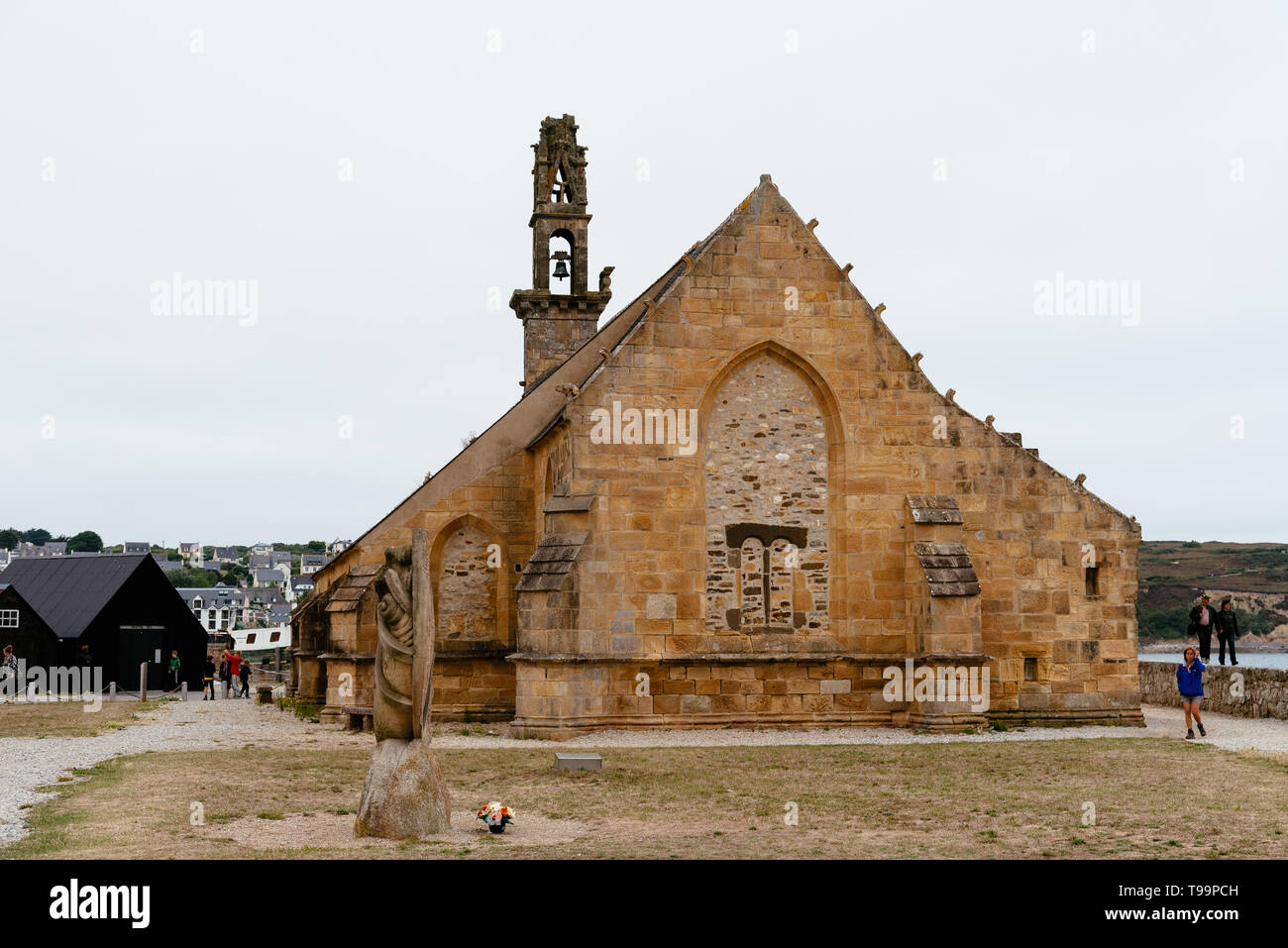 Camaret-sur-Mer, France - August 4, 2018: Outdoor view of the Chapel of Notre-Dame-de-Rocamadour in the port Stock Photo