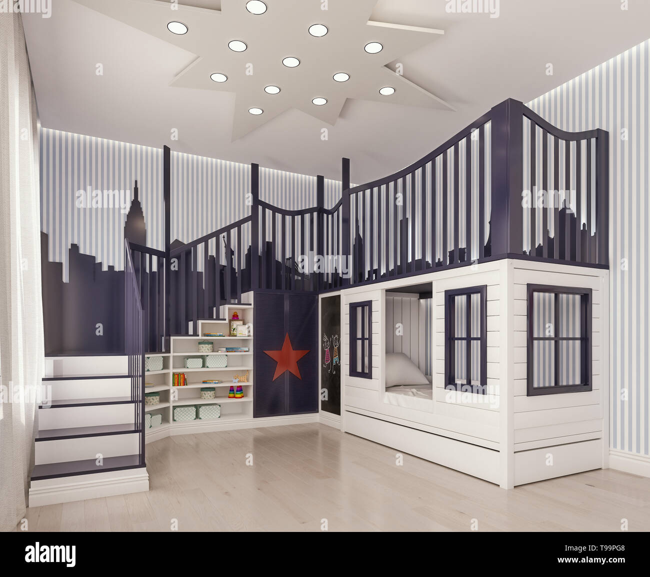 Modern Interior Design Kids Bedroom Children Room Playroom With Double Beds And Stairs Like Castle With City Decoration On Striped Walls 3d Render Stock Photo Alamy