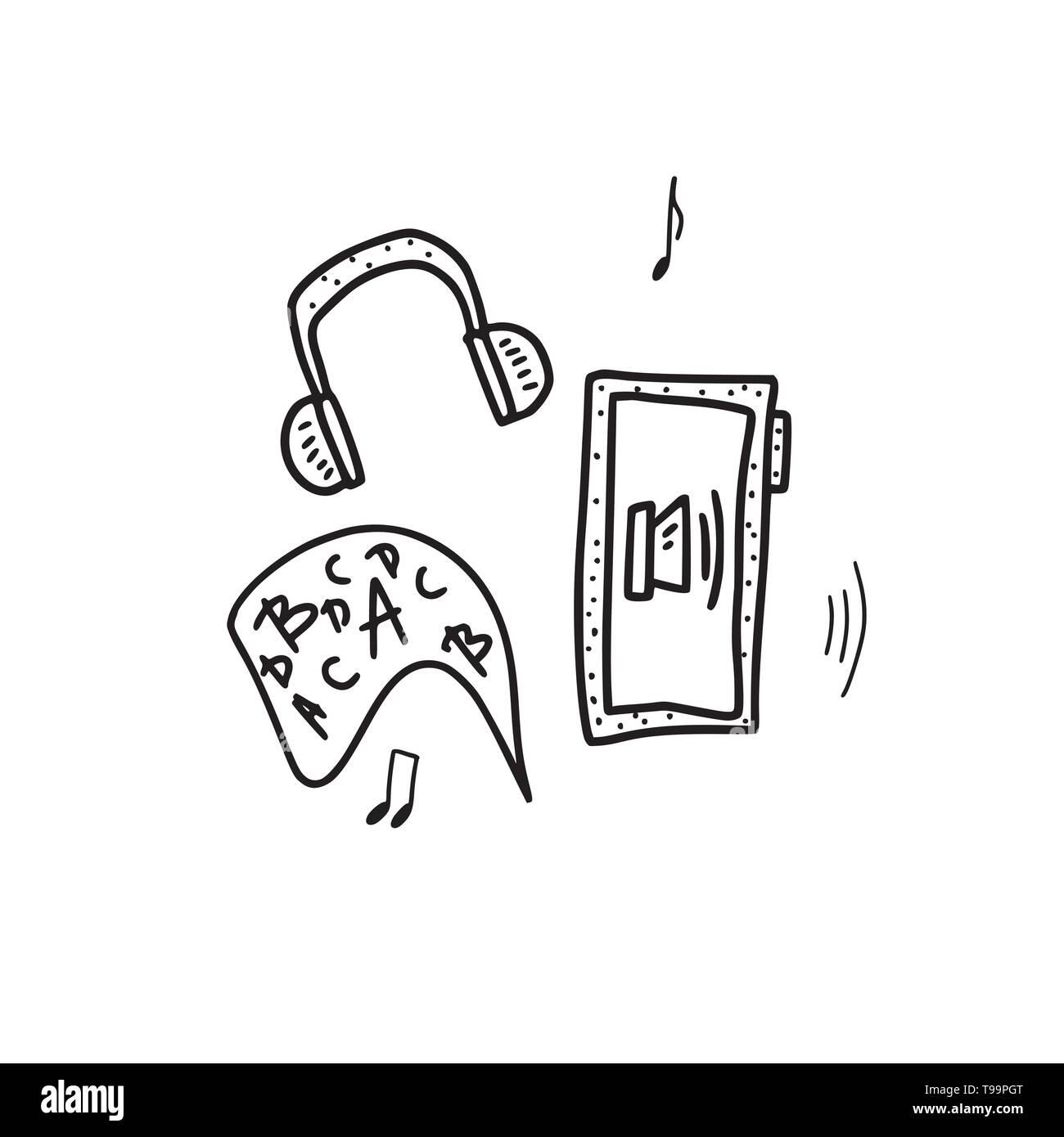 Audiobooks concept. Emblem of audio book symbols. Vector illustration. Stock Vector