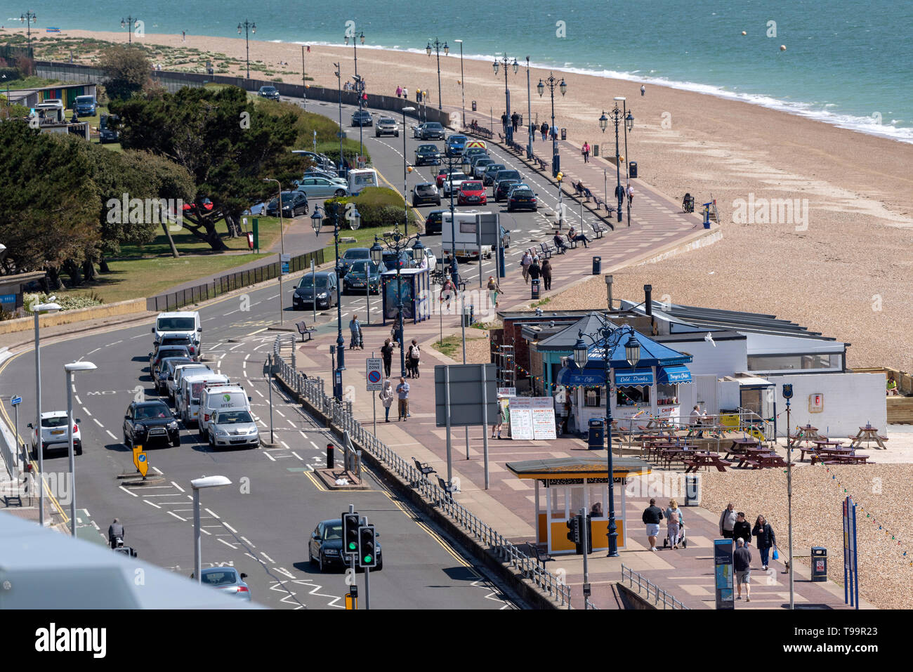 Southsea, Portsmouth, England, UK. May 2019. An overview of the Southsea resort coastal road and shingle beach - Stock Image