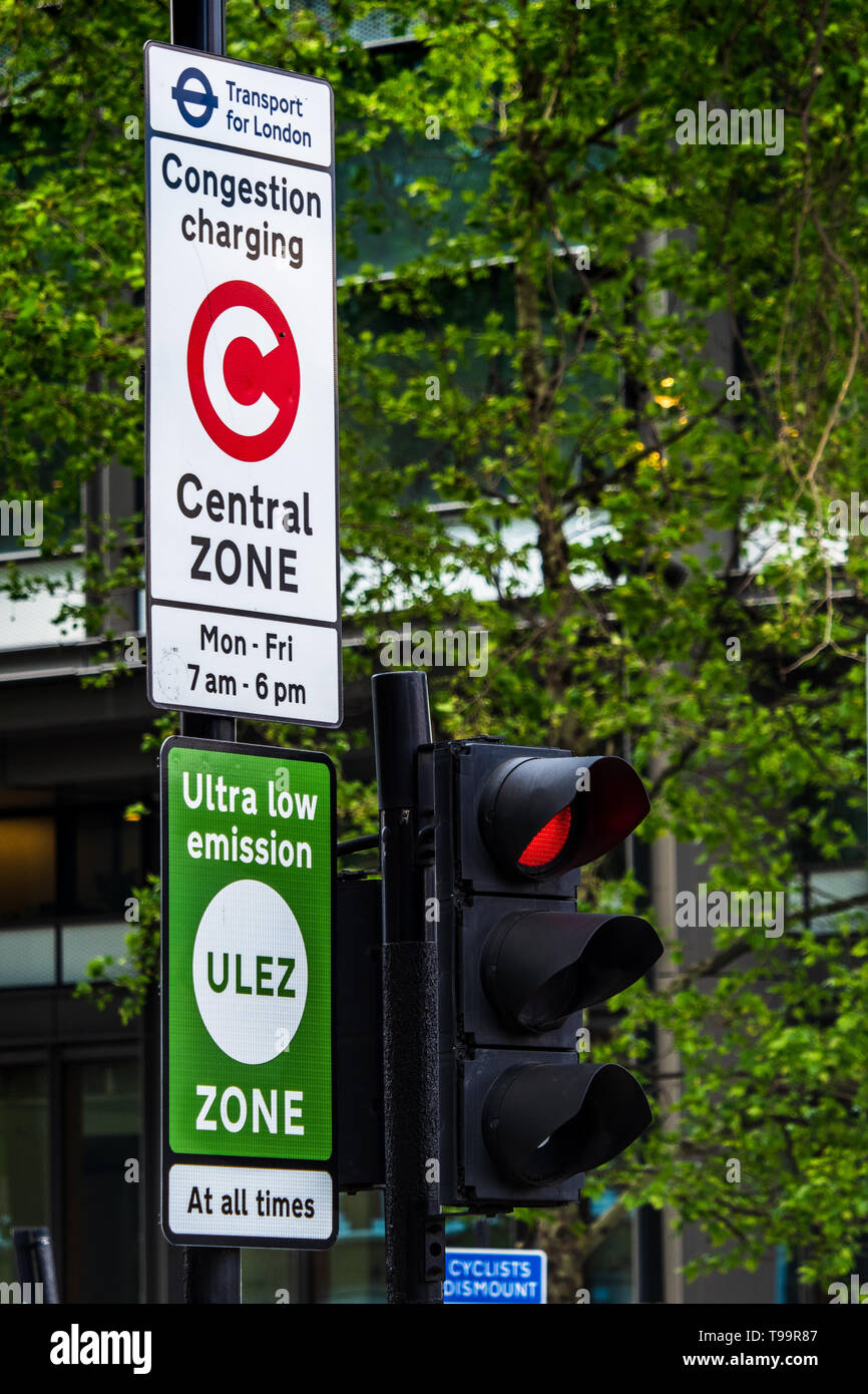 ULEZ Ultra Low Emission Zone Sign London - Signs for the Congestion Charging Zone and new Ultra Low Emission Zone in central London - Stock Image