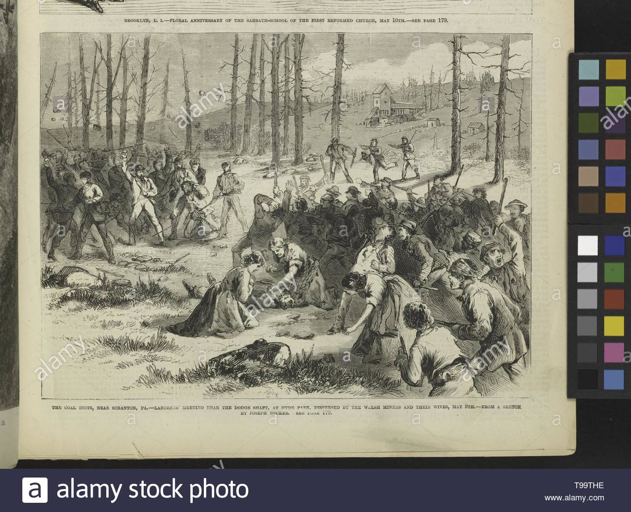 Becker,Joseph(1841-1910)-The coal riots, near Scranton, PA  - Laborers& x27, meeting near the Dodge shaft, at Hyde Park, despersed by the Welsh miners and their wives, May 9th - Stock Image