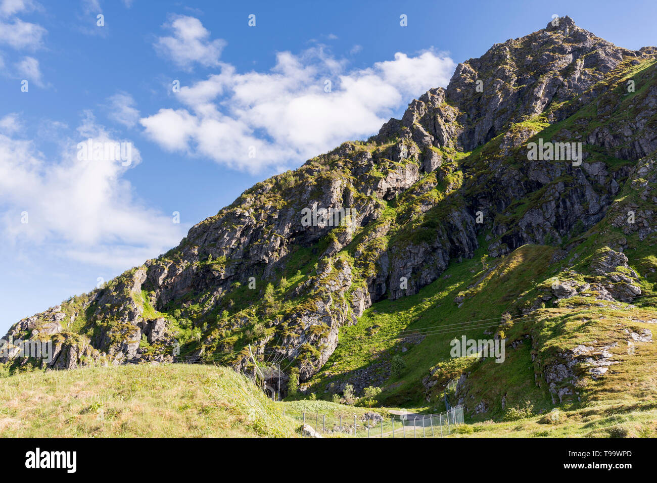 landscape between sea and mountain in Andenes in Lofoten in Norway along National Tourist Route Andoya - Stock Image