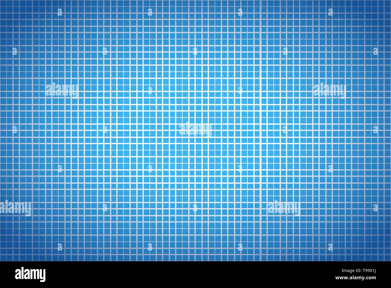 Blue and white graph paper, wide detailed math background - Stock Image