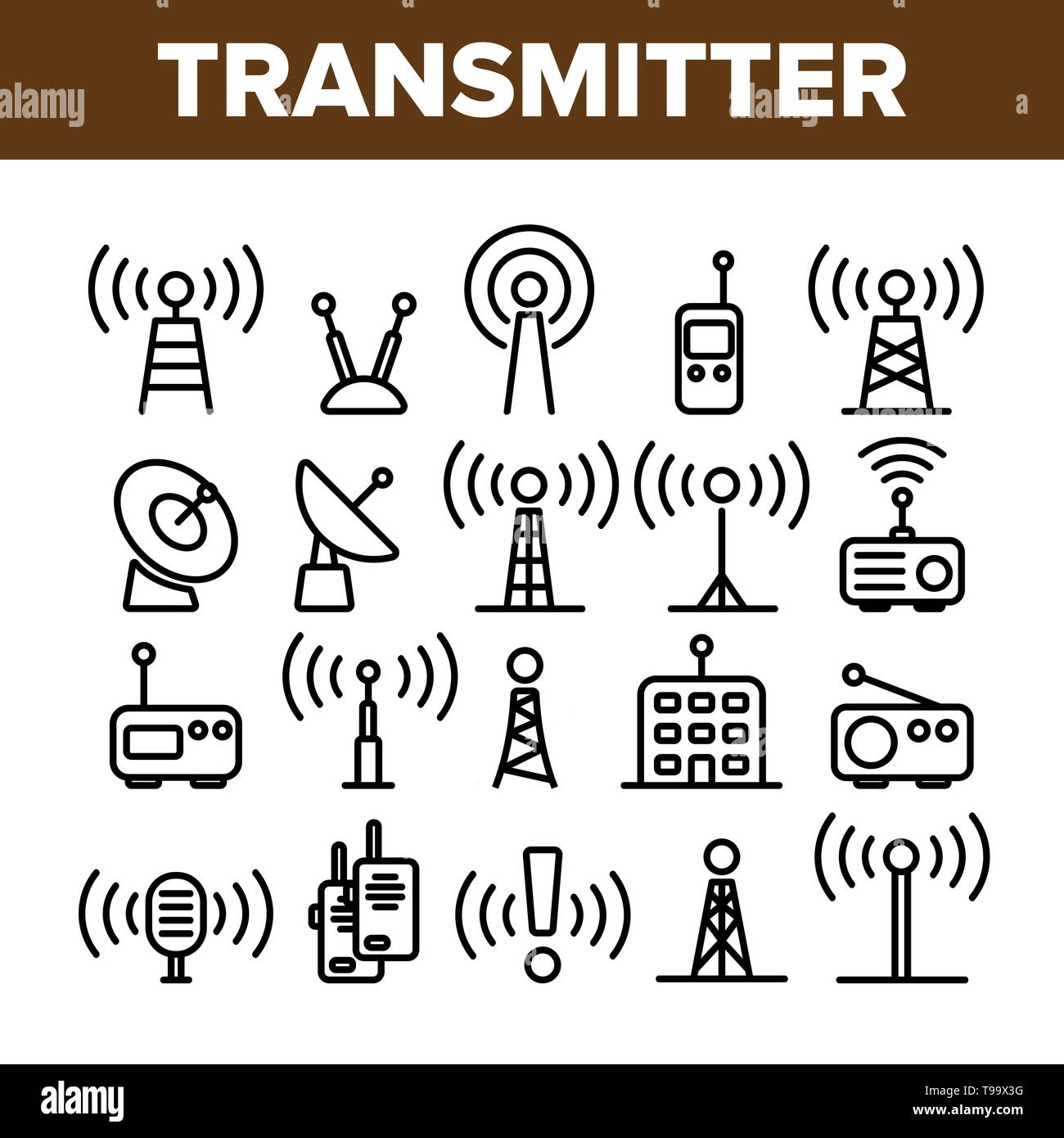 Transmitter, Radio Tower Linear Vector Icons Set