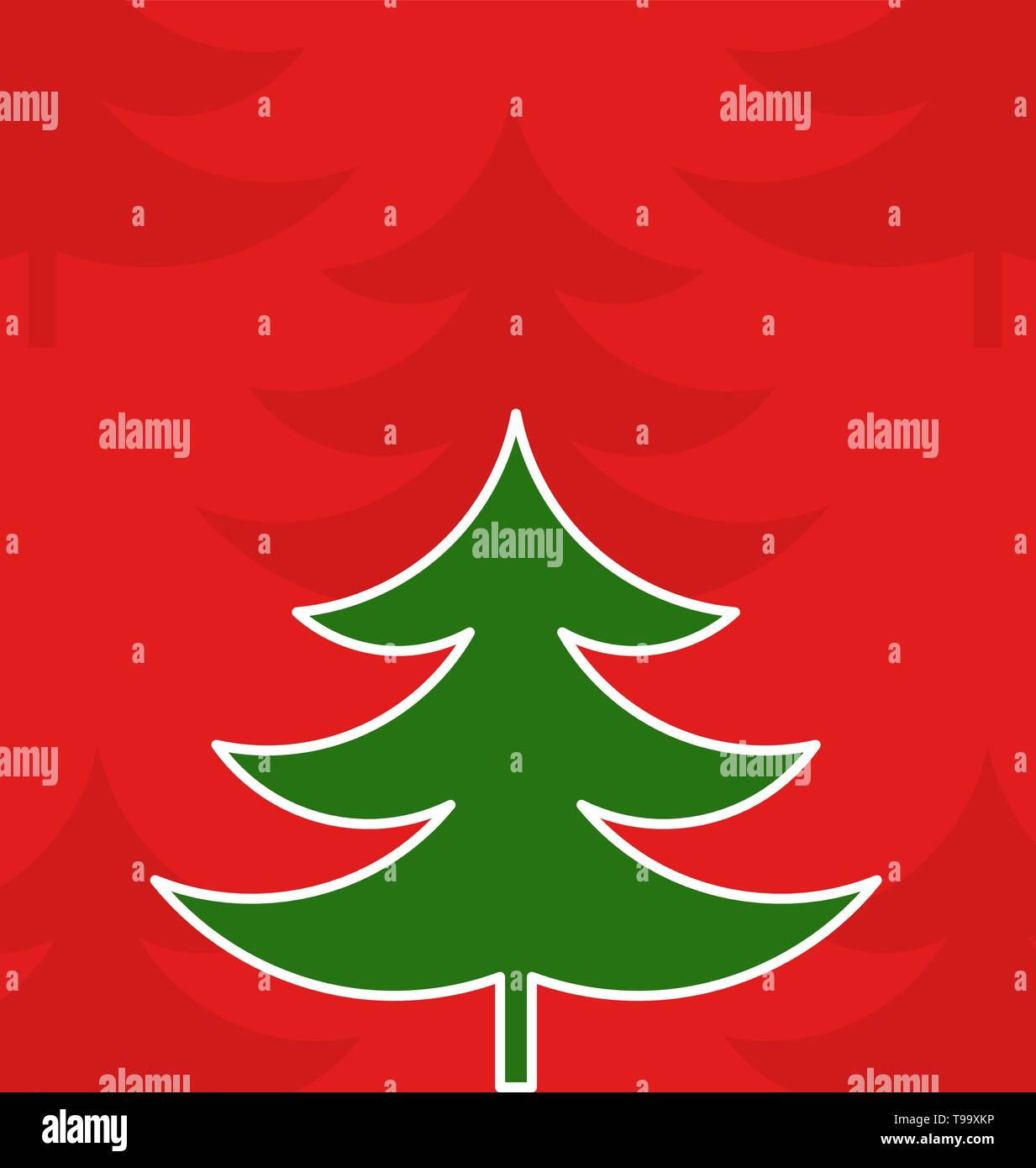 Christmas tree on red background illustration - Stock Image