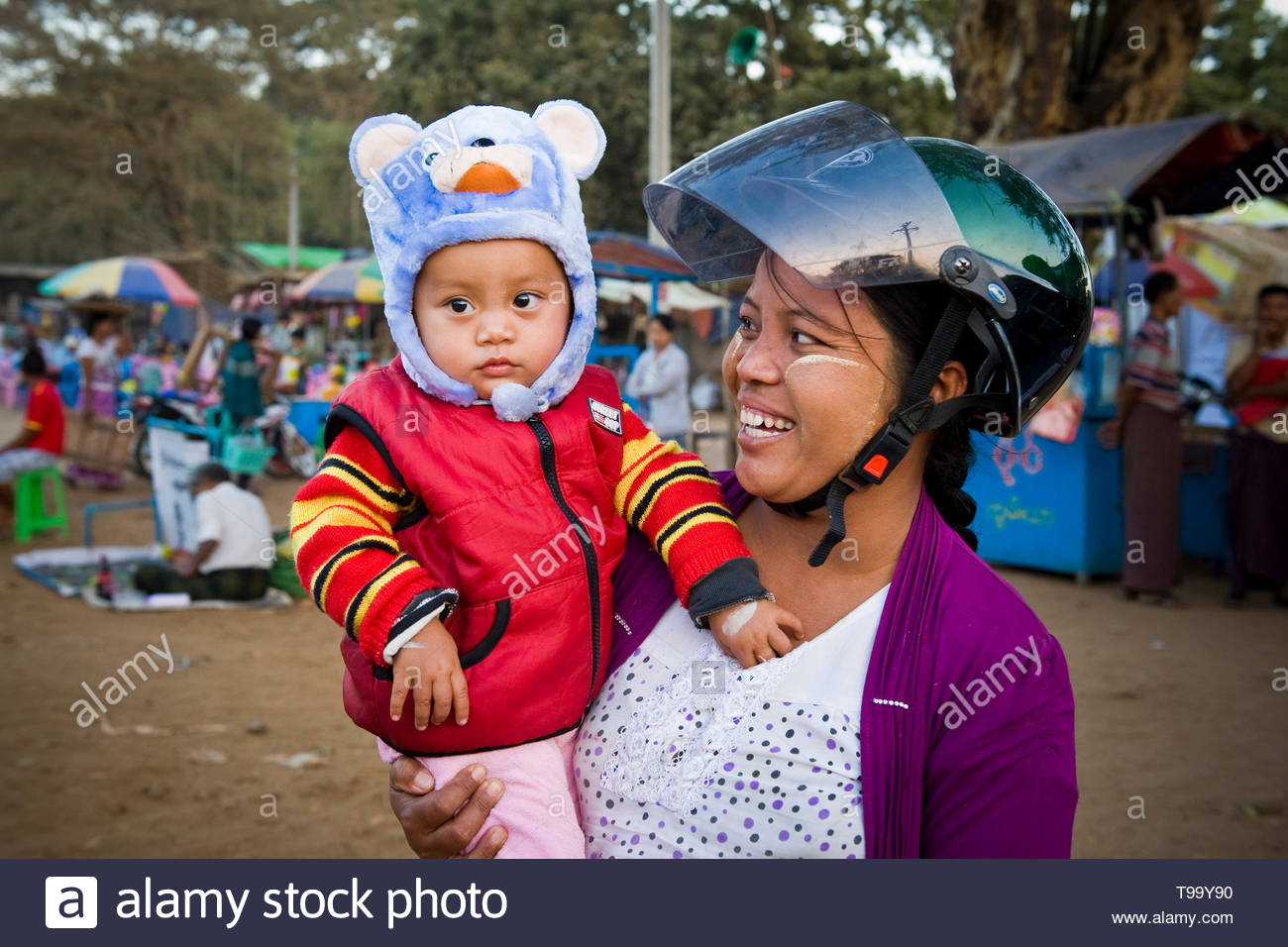 Myanmar, Bagan, mother and son - Stock Image