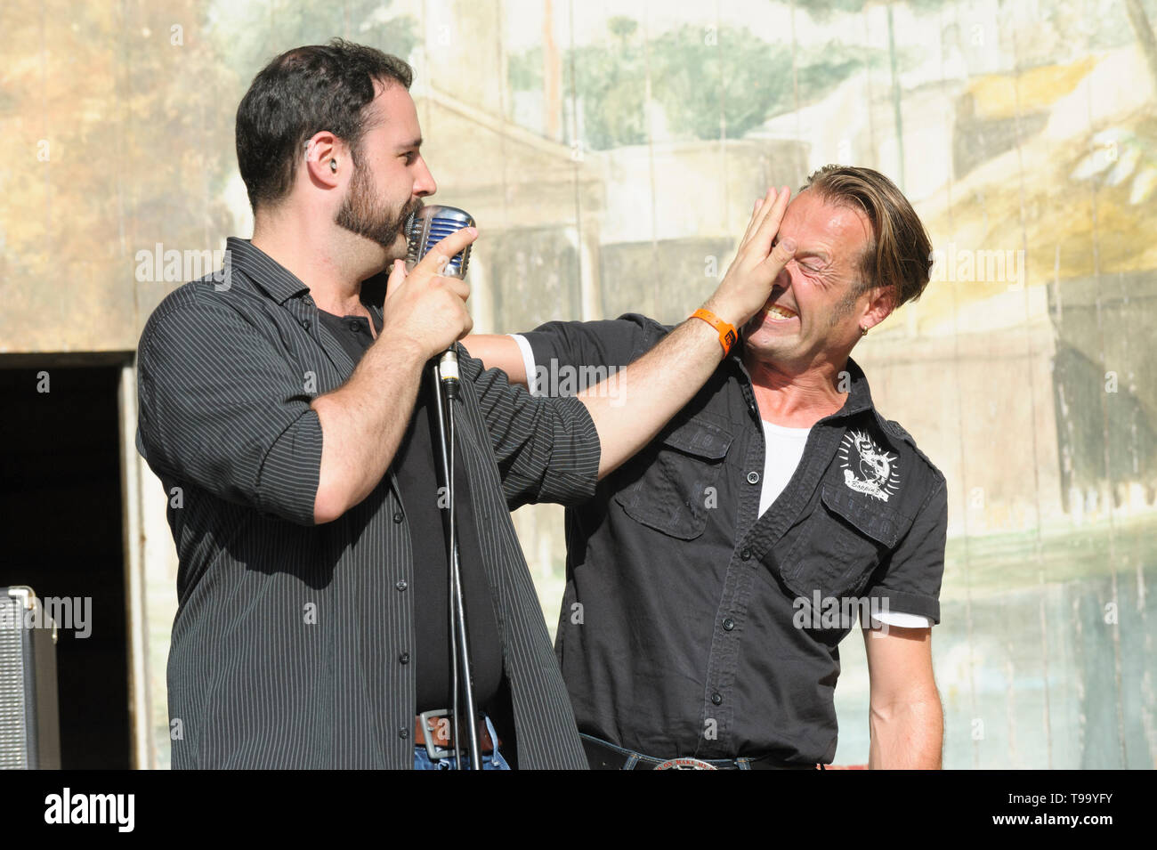 Dirk Hartmann and Golo Sturm performing with Boppin' B at the Larmer Tree Festival, UK. July 19, 2014 - Stock Image
