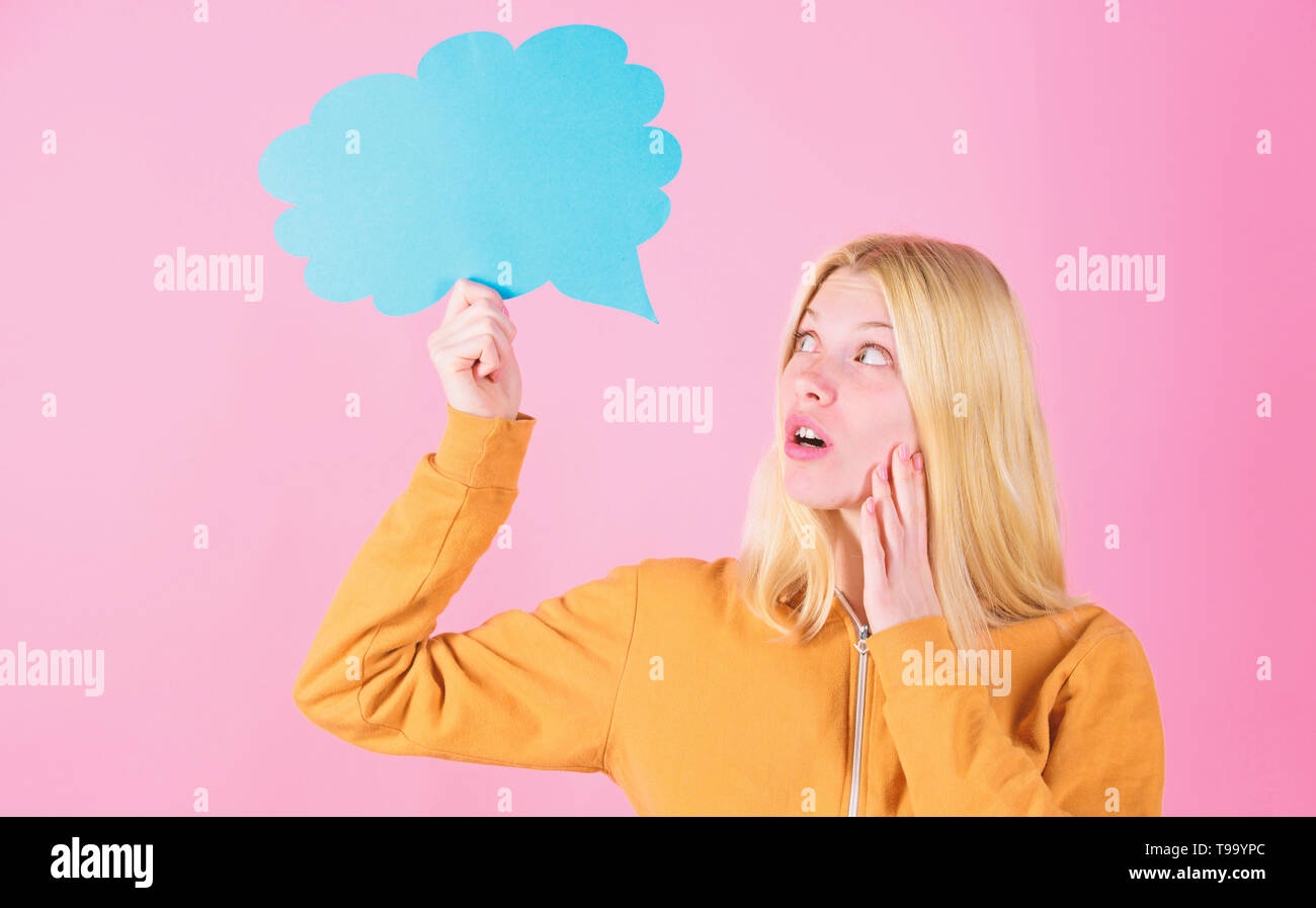 Idea and creativity concept. Ideas and thoughts copy space. Girl cute blonde with speech bubble. Thought of inspired adorable woman. Idea and inspiration. What is on her mind. Think about. Fresh idea. - Stock Image