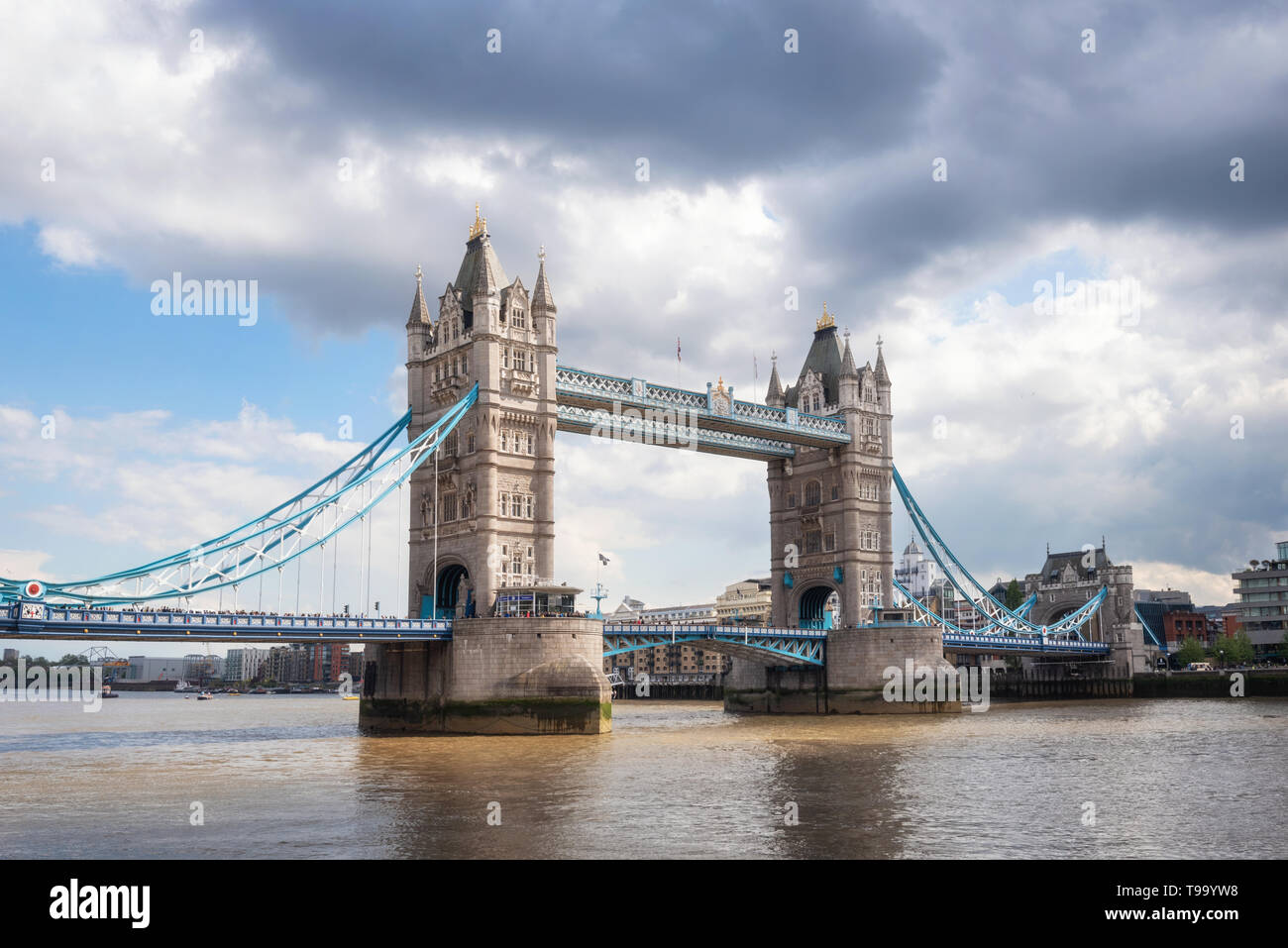 Tower Bridge in London on a beautiful sunny day . - Stock Image