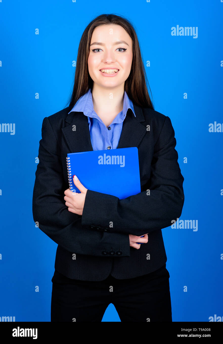 student life. Smart beauty. happy nerd. girl student in formal clothes. business fashion. Schoolgirl with document folder. woman in jacket with paper notes. ready for lesson. education. businesswoman. - Stock Image