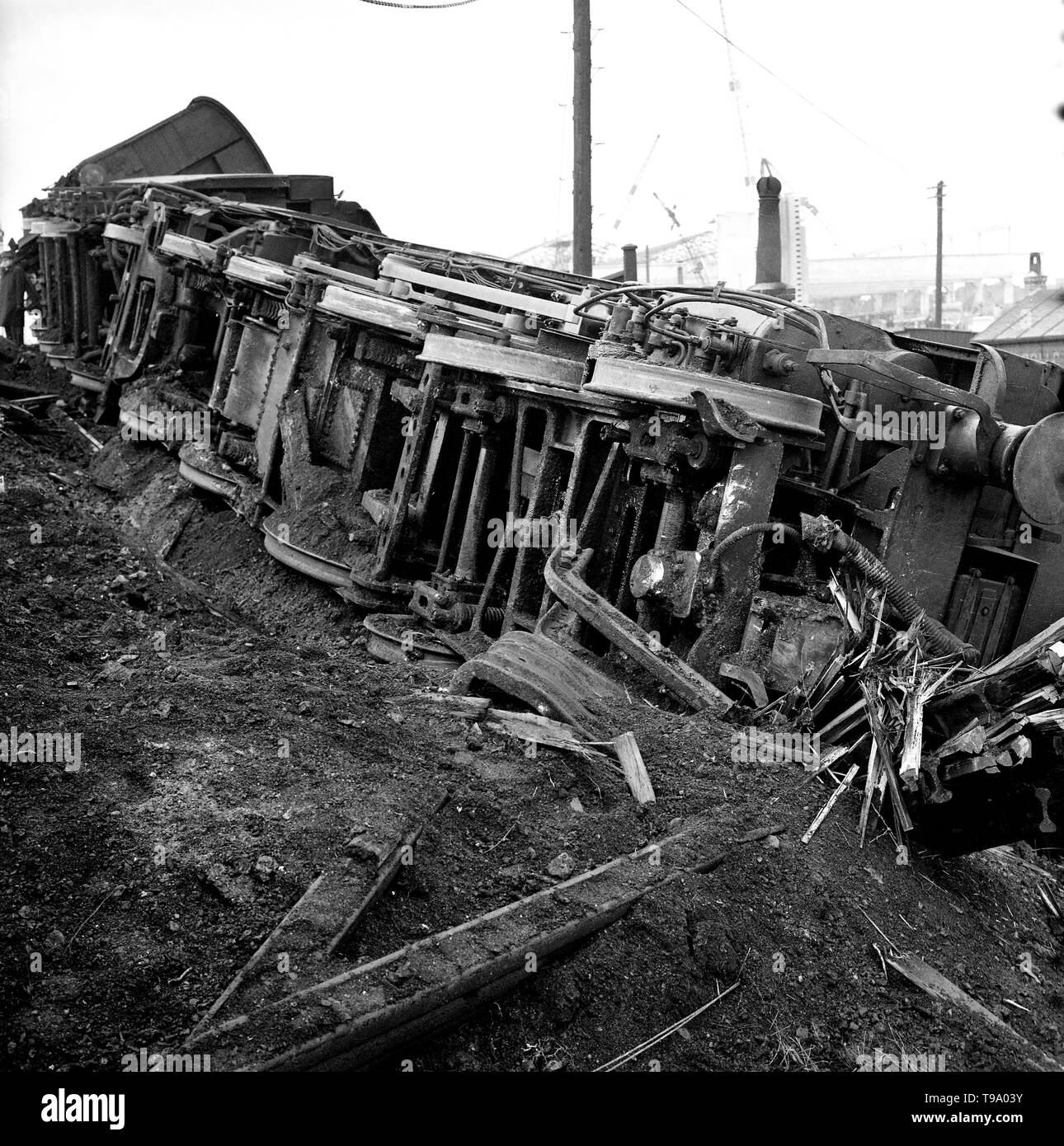5th November 1967. An over-turned passenger train carriage. On the busy Sunday evening service from Hastings to Charing Cross Station, London the train derailed at Hither Green Depot, killing 49 people and injuring 78. - Stock Image