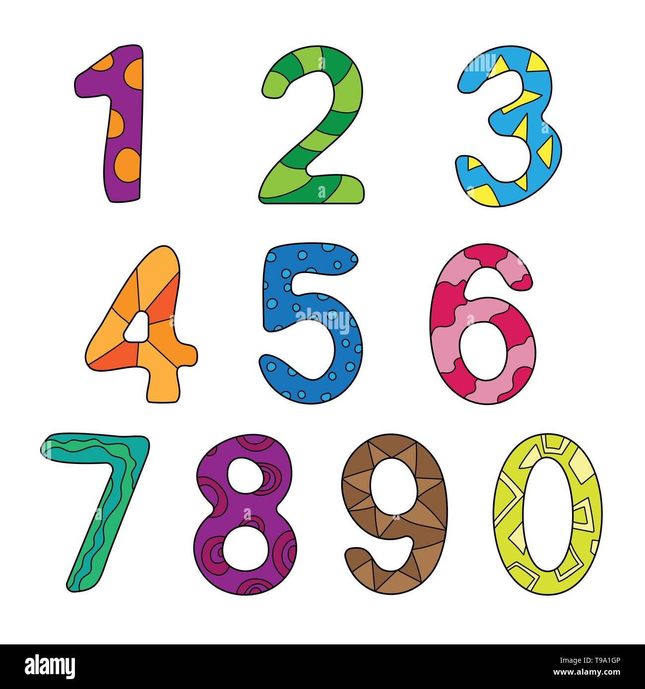 Vector cartoon kids figures. Set of color numbers. Counting, learn ...
