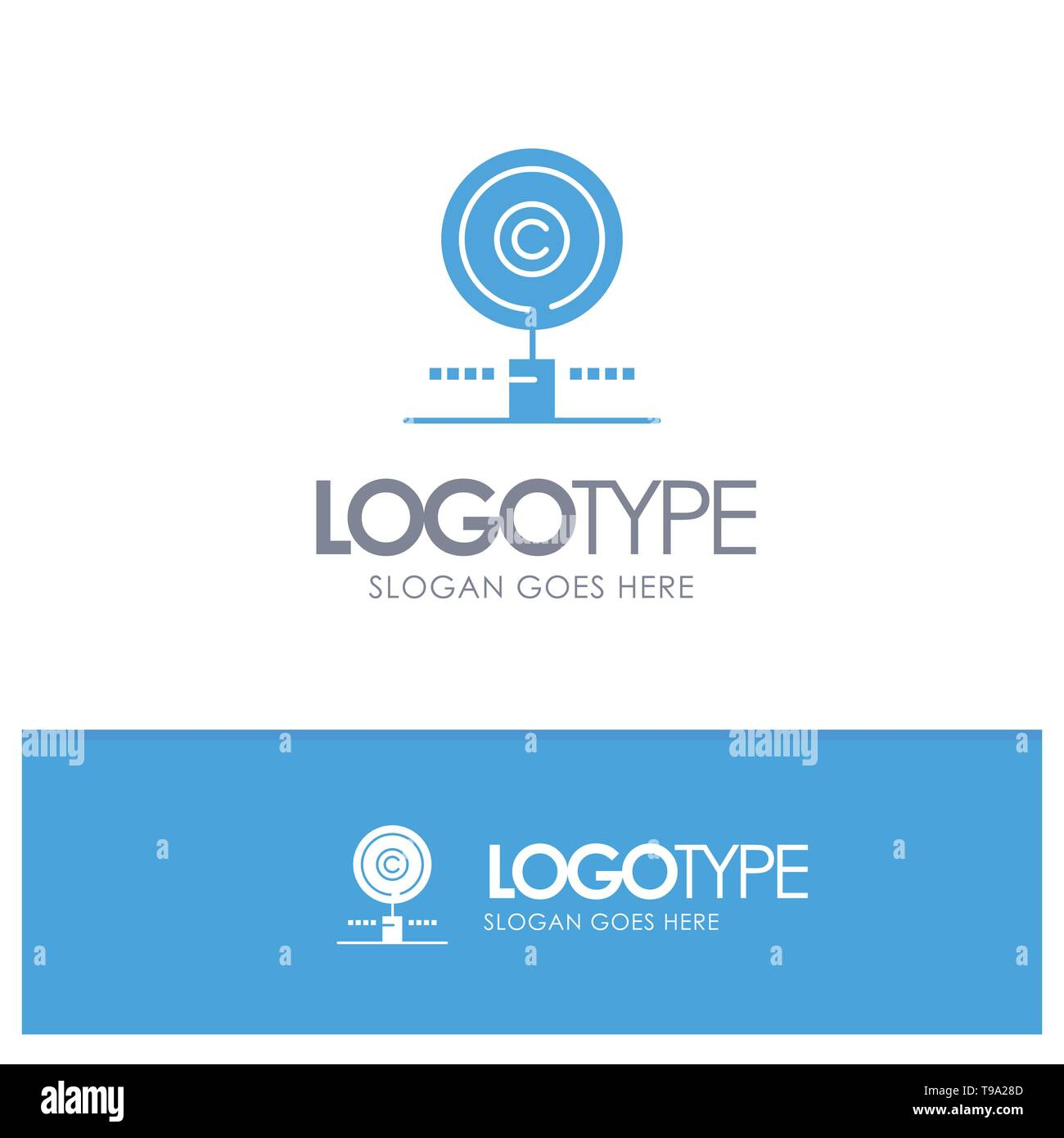 Content, Copyright, Find, Owner, Property Blue Solid Logo with place for tagline - Stock Image