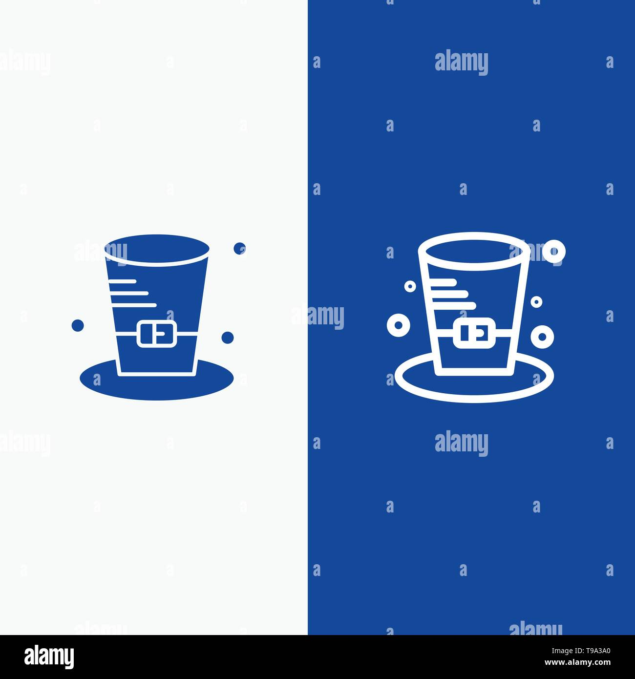 Cap, Detective, Hat, Canada Line and Glyph Solid icon Blue banner Line and Glyph Solid icon Blue banner - Stock Image
